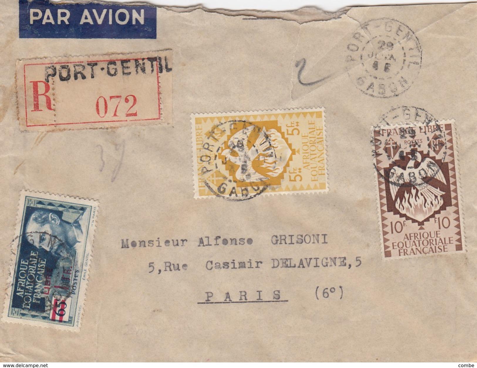 LETTRE COVER AEF. RECOMMANDE PORT-GENTIL GABON POUR PARIS - A.E.F. (1936-1958)