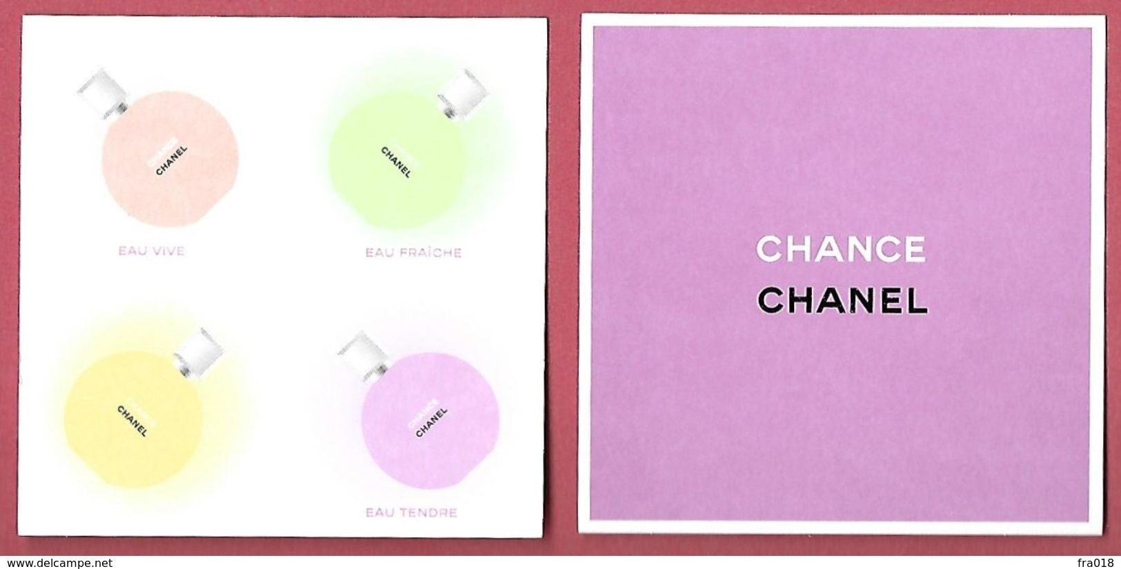 F-  New !! Carte à Sprayer  CHANEL - Chance Pour 4 Fragrances -  Perfume Card - USA - Perfume Cards