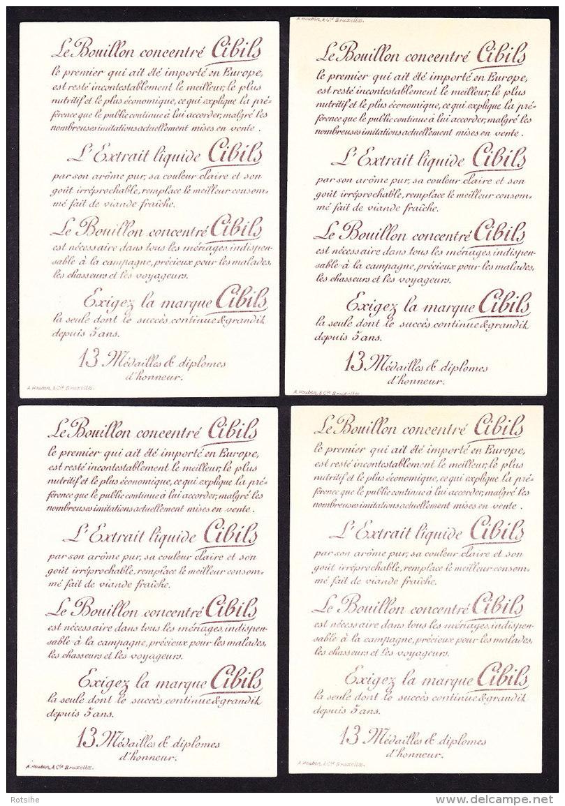 LOT DE 4 CHROMOS   CIBILS     A. HOUBEN BRUXELLES   BOUILLON CONCENTRE Extrait De Viande - Chromos