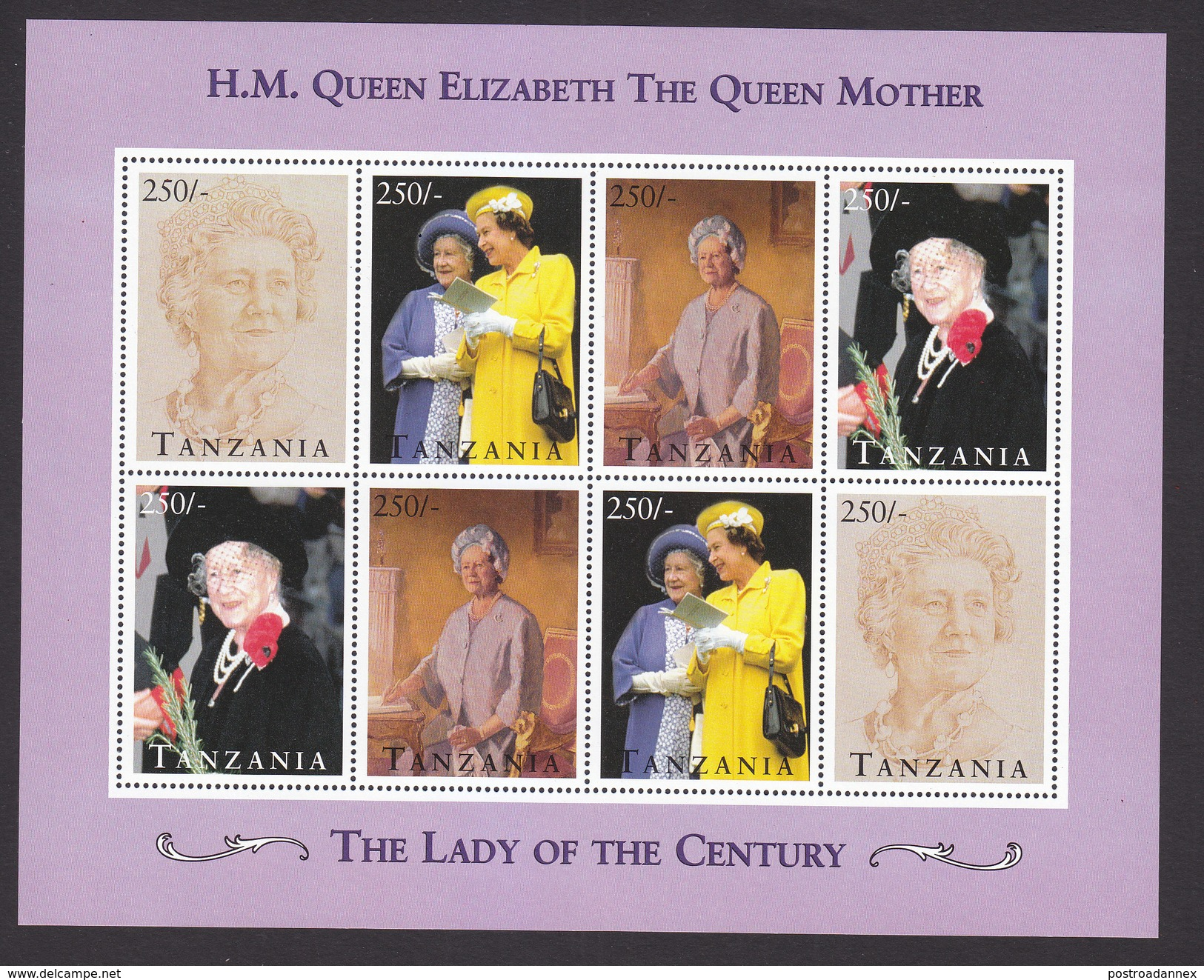 Tanzania, Scott #1348, Mint Never Hinged, Queen Mother, Issued 1995 - Tansania (1964-...)