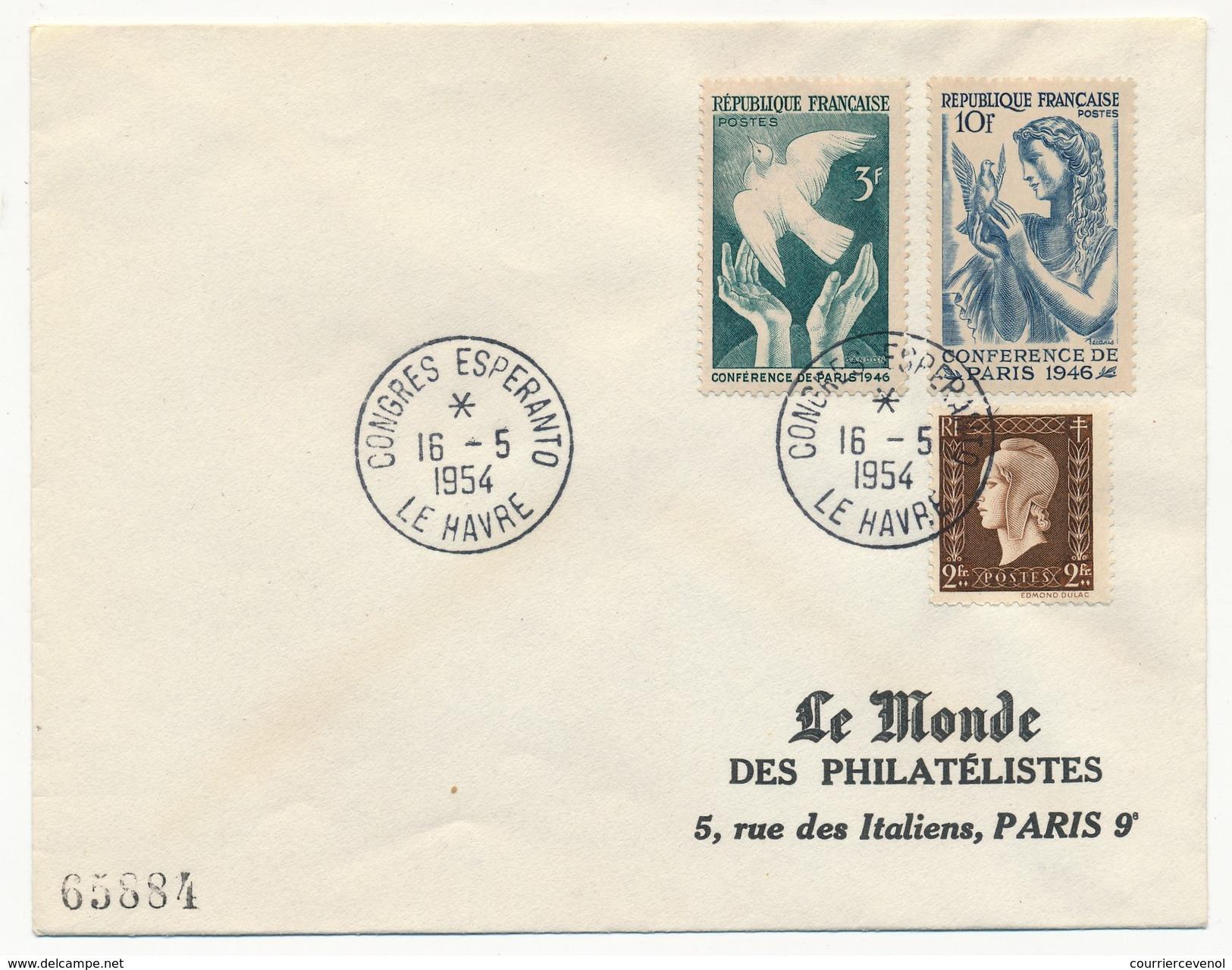 "FRANCE => Enveloppe - Cachet Temporaire ""Congrès Espéranto - LE HAVRE - 1954"" - Esperanto"
