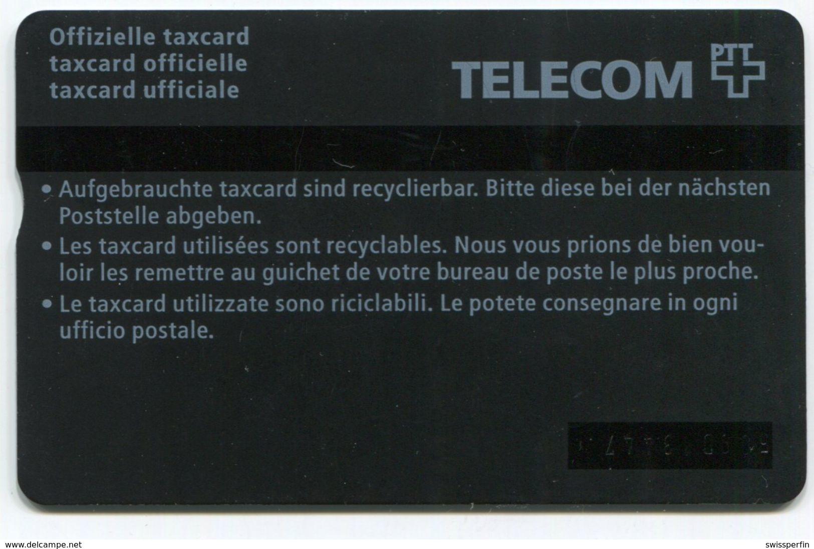 1749 - 10 CHF Älteres Paar - ABART Farbstrich - Gebrauchte Schalterkarte - Suisse