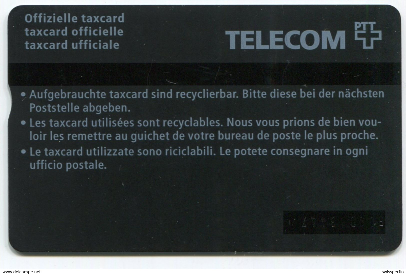 1749 - 10 CHF Älteres Paar - ABART Farbstrich - Gebrauchte Schalterkarte - Schweiz