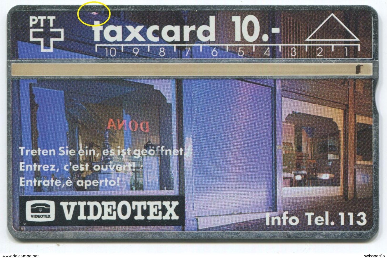 1750 - 10 CHF VIDEOTEX - ABART Fleck - Gebrauchte Schalterkarte - Suisse