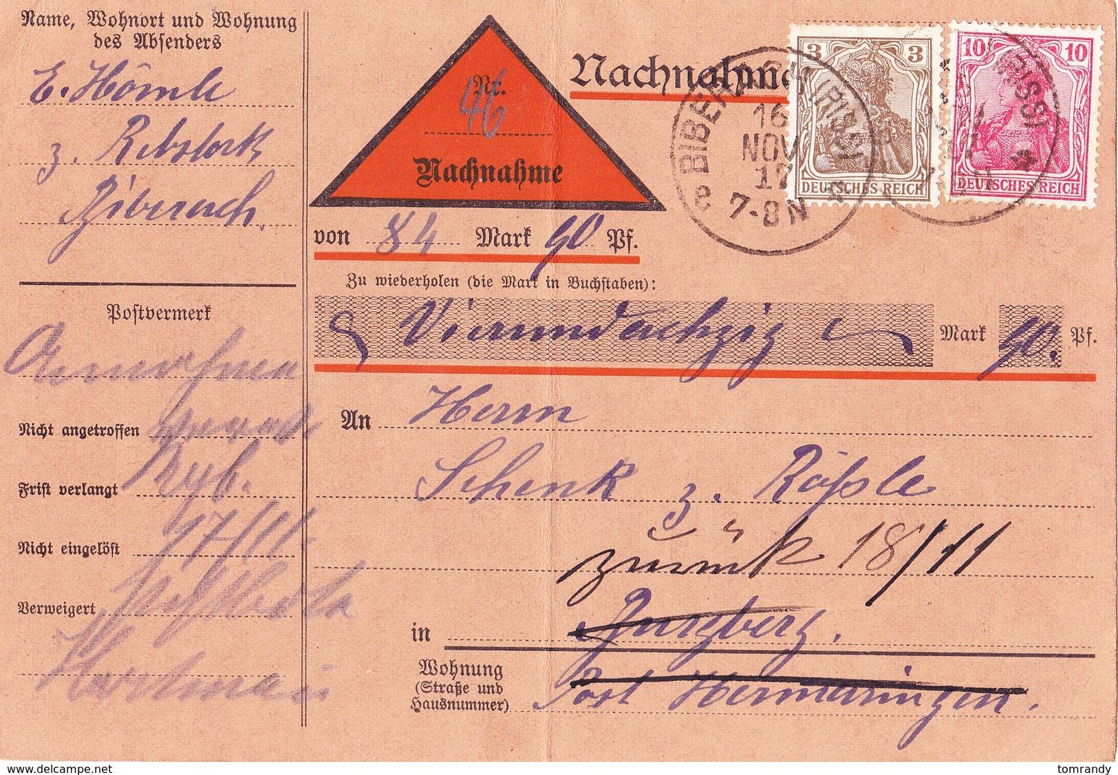 Biberach 1917, Nachnahme - Briefe U. Dokumente