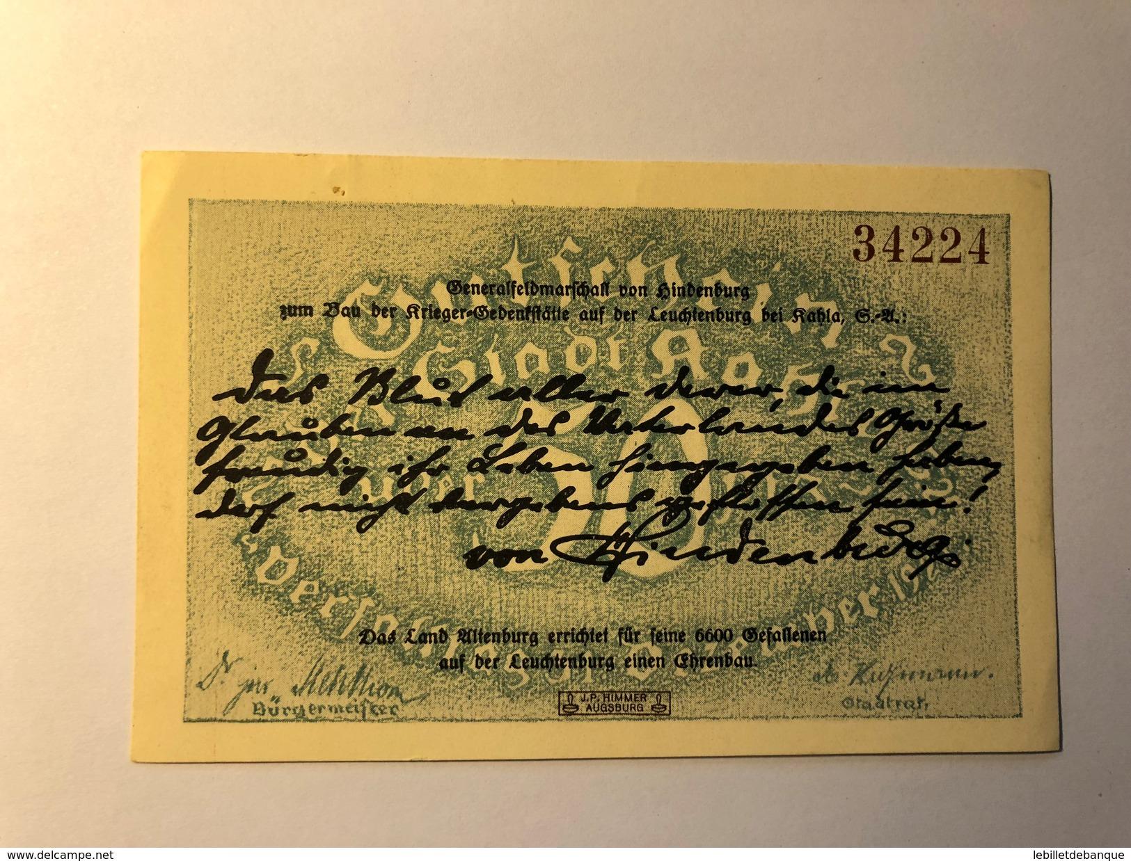 Allemagne Notgeld Kahla 50 Pfennig - Collections