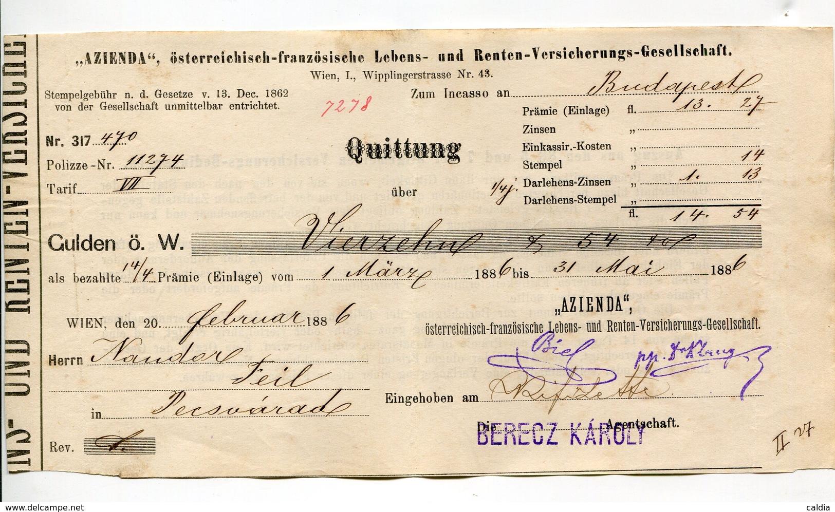 """Autriche Austria Österreich Ticket QUITTUNG """" AZIENDA """" Austria - France Society 1886 # 1 - Autriche"""