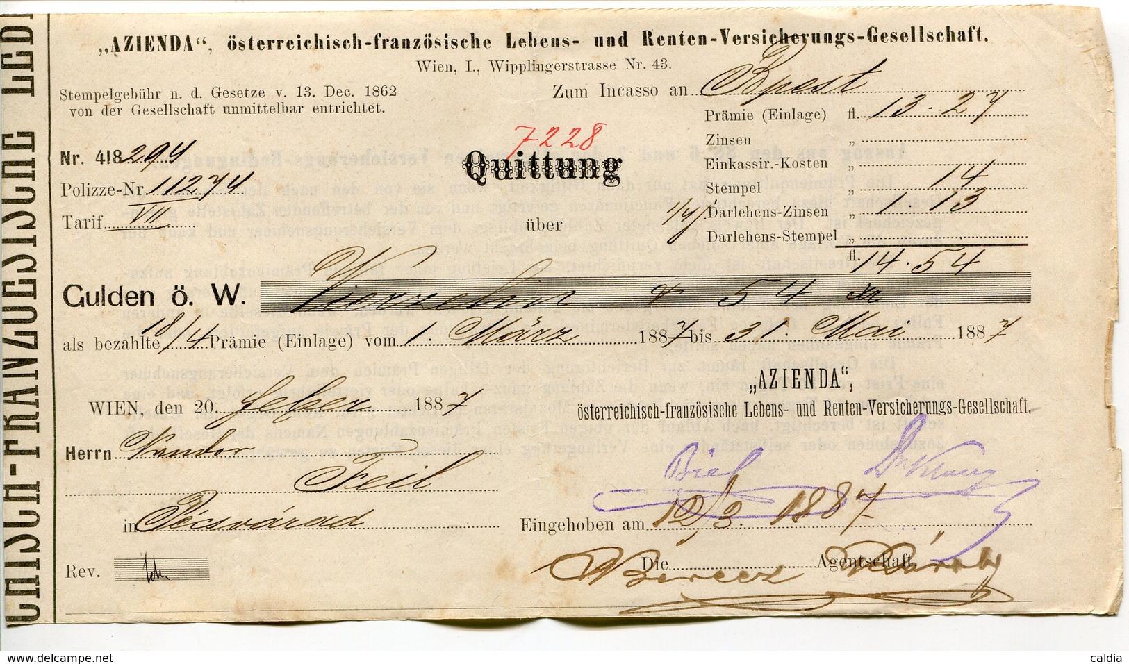 """Autriche Austria Österreich Ticket QUITTUNG """" AZIENDA """" Austria - France Society 1887 # 1 - Autriche"""