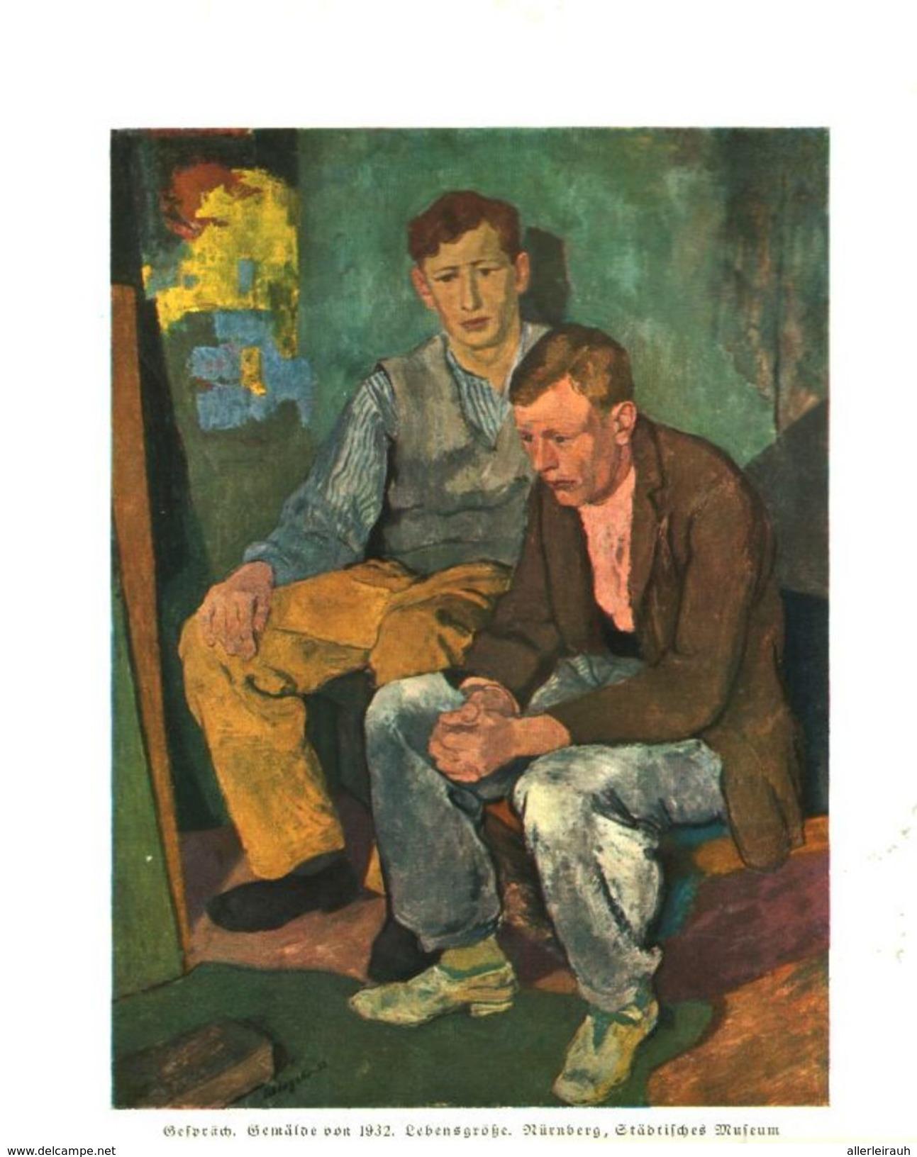 Gespräch (nach Einem Gemälde Von Karl Schlageter) /  Druck, Entnommen Aus Zeitschrift /1936 - Livres, BD, Revues