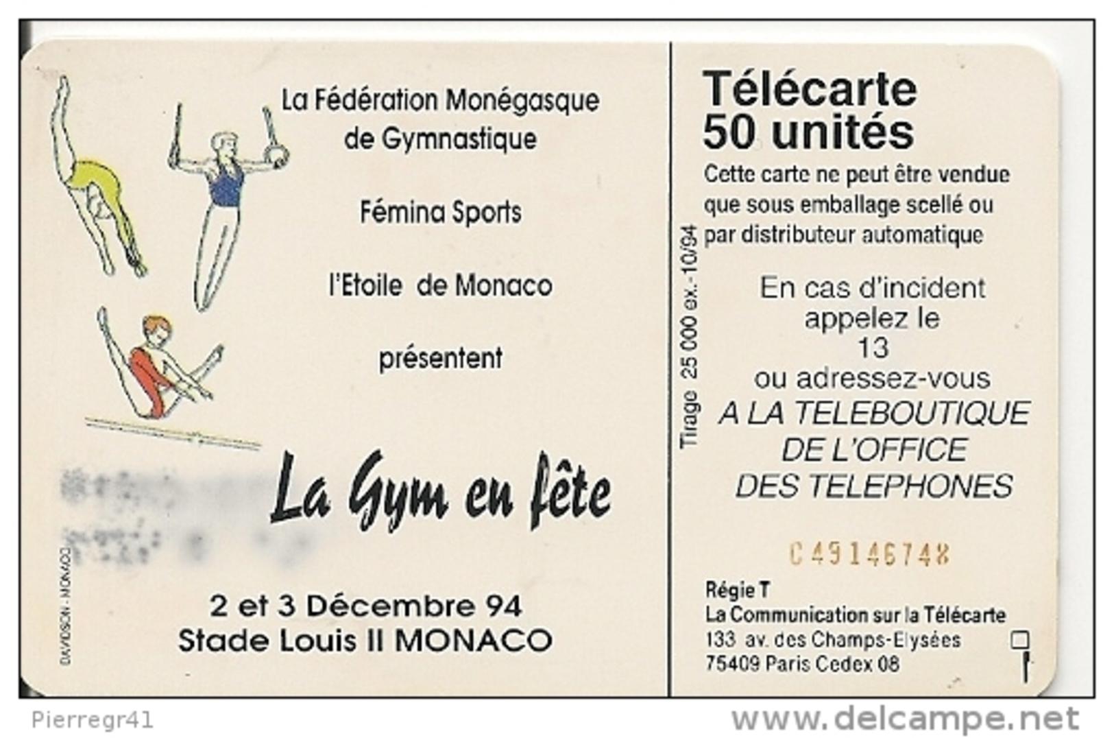 CARTEà-PUBLIC-MONACO-50U-MF32-SC7-10/94-GALA GRACE GYM-V° Rge C491467747-UTILISE-BE - Monaco