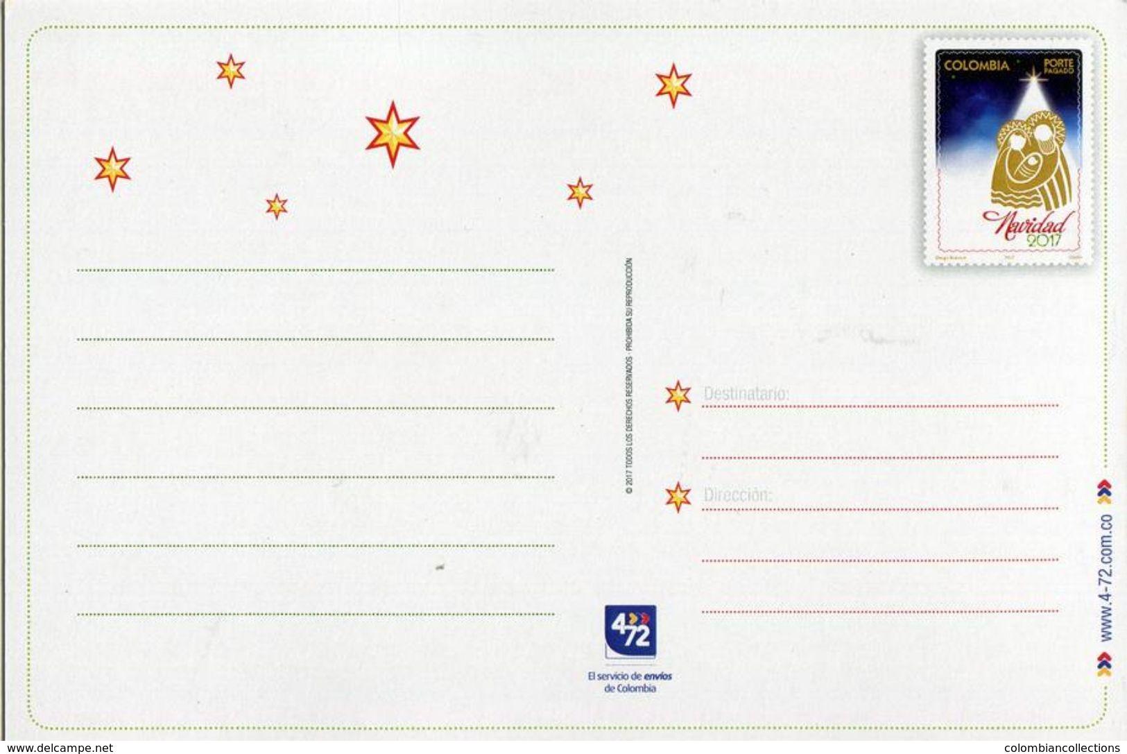 Lote PEP980, Colombia, Entero Postal, Postal Stationary, Postcard, 4-72, 2017, Navidad, Christmas - Colombia