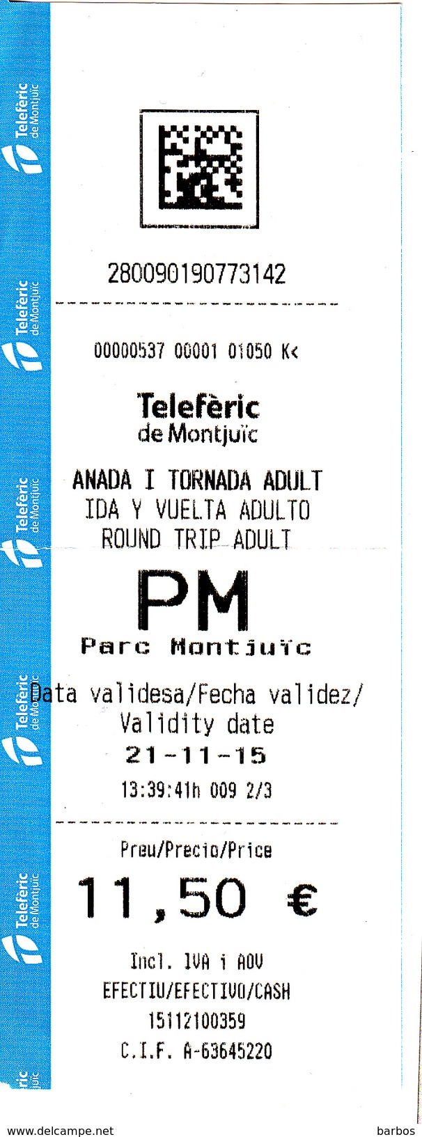Spain , Espagne , Teleferic De Montjuic Ticket , 2015 , Used - Transportation Tickets