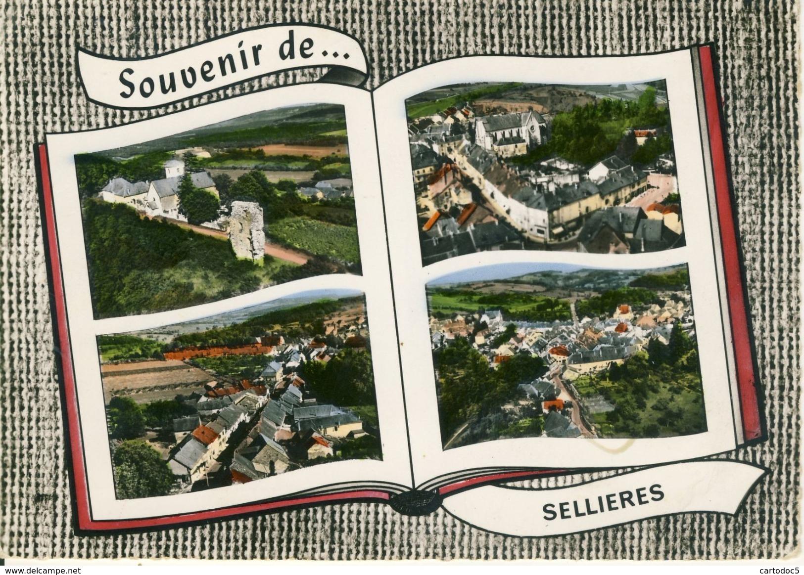Sellières  L'Eglise-Centre Du Bourg-Le Faubourg-Vue Générale   Multivues   Cpsm Format 10-15 - France