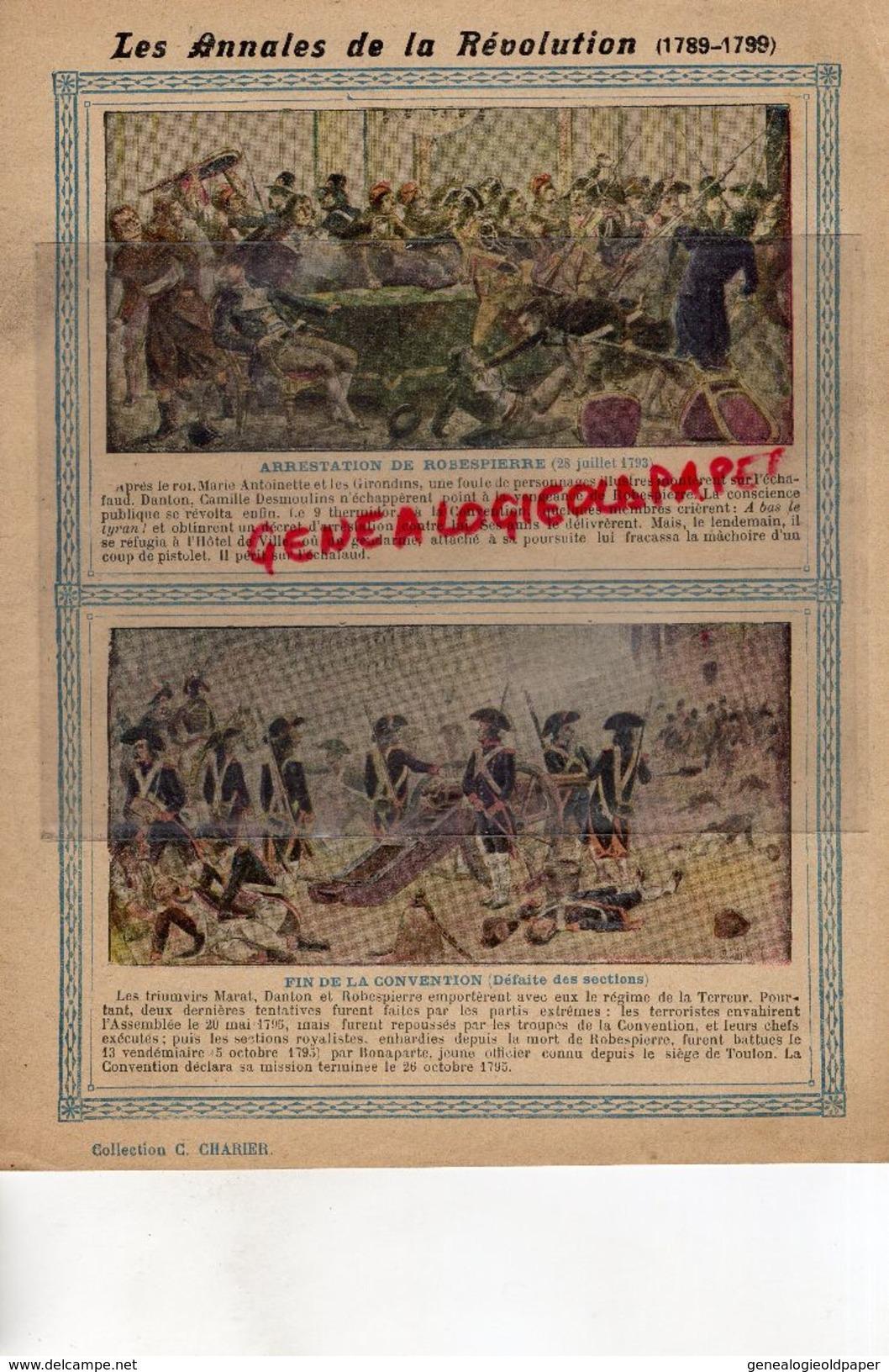 PROTEGE CAHIER- LES ANNALES DE LA REVOLUTION-1789-1799- ARRESTATION ROBESPIERRE-FIN DE LA CONVENTION -CHARIER SAUMUR - Löschblätter, Heftumschläge