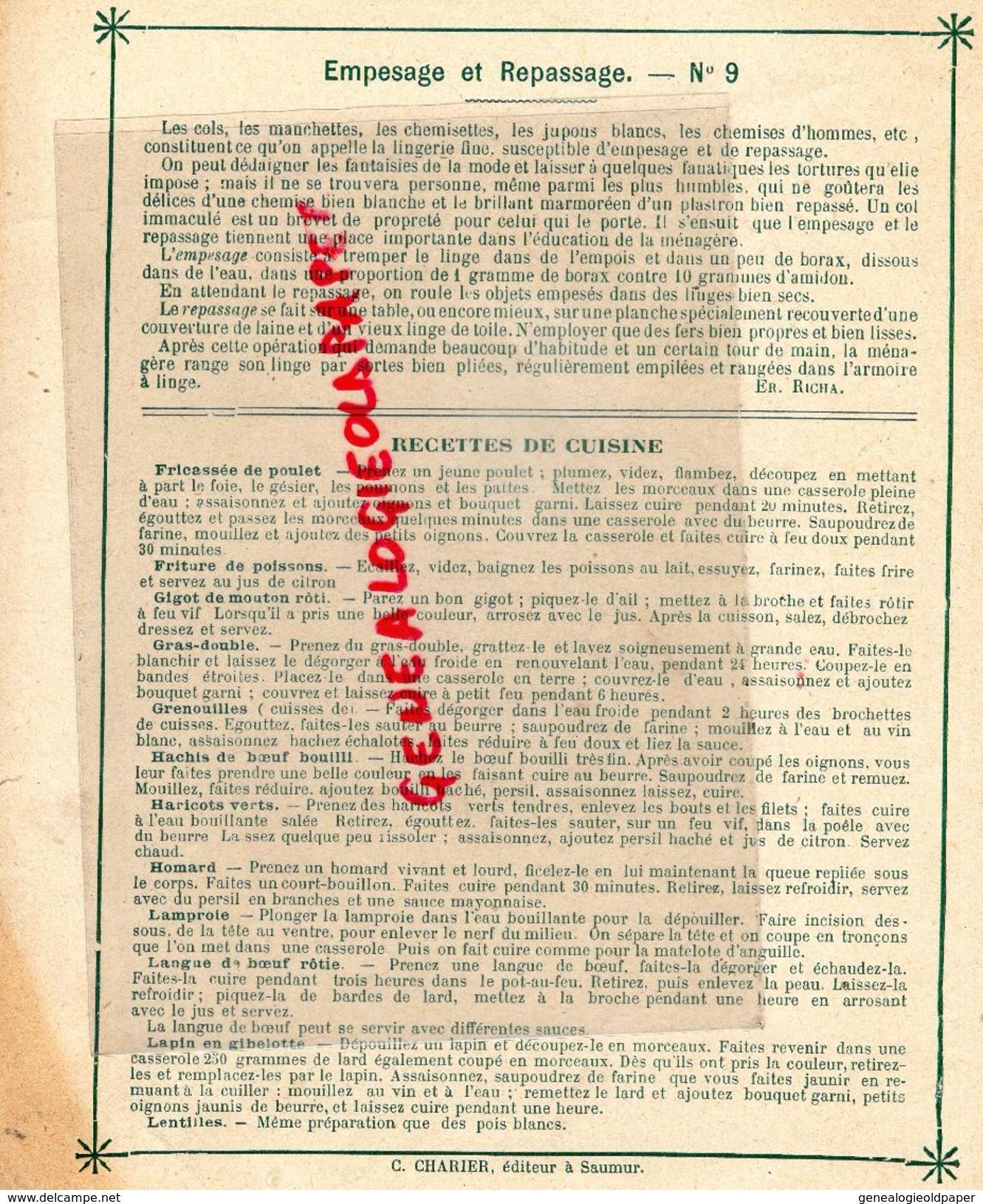 PROTEGE CAHIER-IMPRIMERIE DUCOURTIEUX LIMOGES-MAITRESSE DE MAISON-EMPESAGE REPASSAGE-CUISINE -CHARIER SAUMUR - Papel Secante