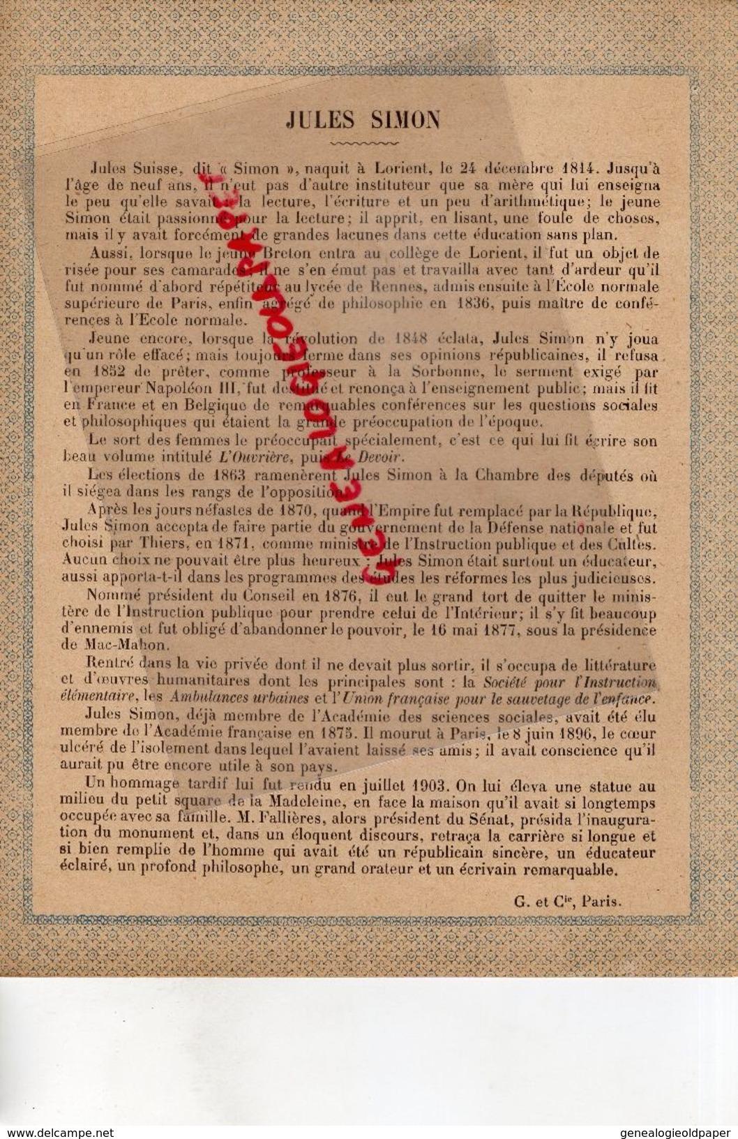 56- LORIENT-PROTEGE CAHIER- IMPRIMERIE DUCOURTIEUX LIMOGES-NOS GRANDS REPUBLICAINS XIX E SIECLE- JULES SIMON-SUISSE- - Blotters