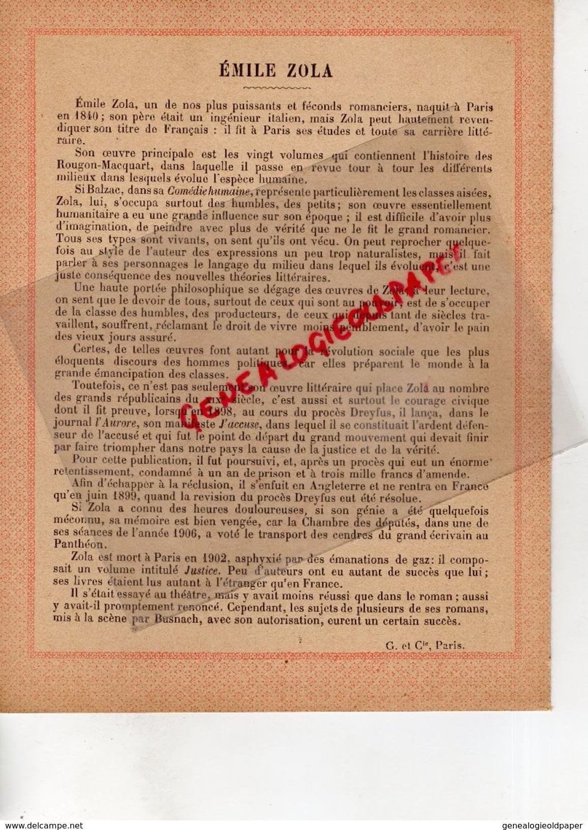 75-PARIS-PROTEGE CAHIER- IMPRIMERIE DUCOURTIEUX LIMOGES-GRANDS REPUBLICAINS XIX E SIECLE-EMILE ZOLA - Papel Secante