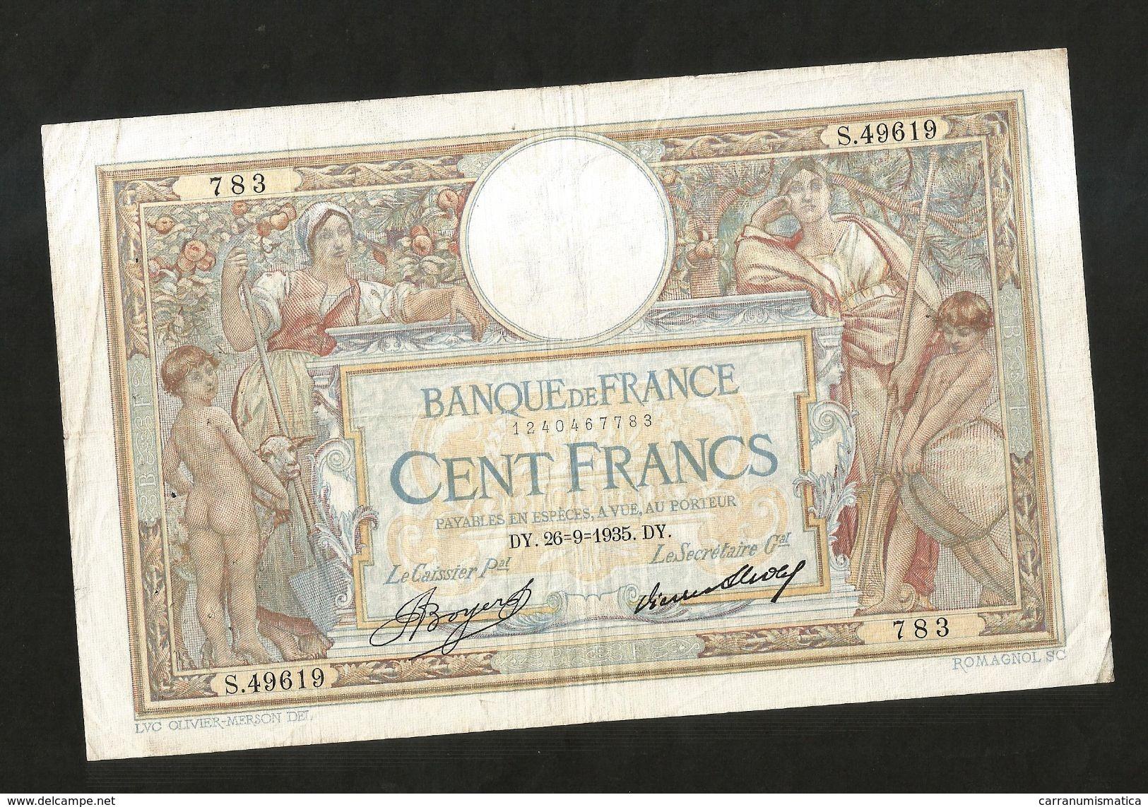 FRANCE - BANQUE De FRANCE - 100 FRANCS  (DY. 26 - 9 - 1935)  LUC OLIVER MERSON - 100 F 1908-1939 ''Luc Olivier Merson''