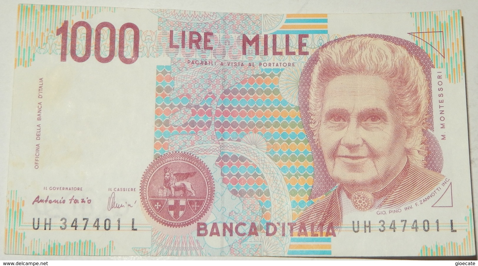 BANCONOTA   - ITALIA - 1000 LIRE  – MONTESSORI  – SERIE UH - (N) - [ 2] 1946-… : République