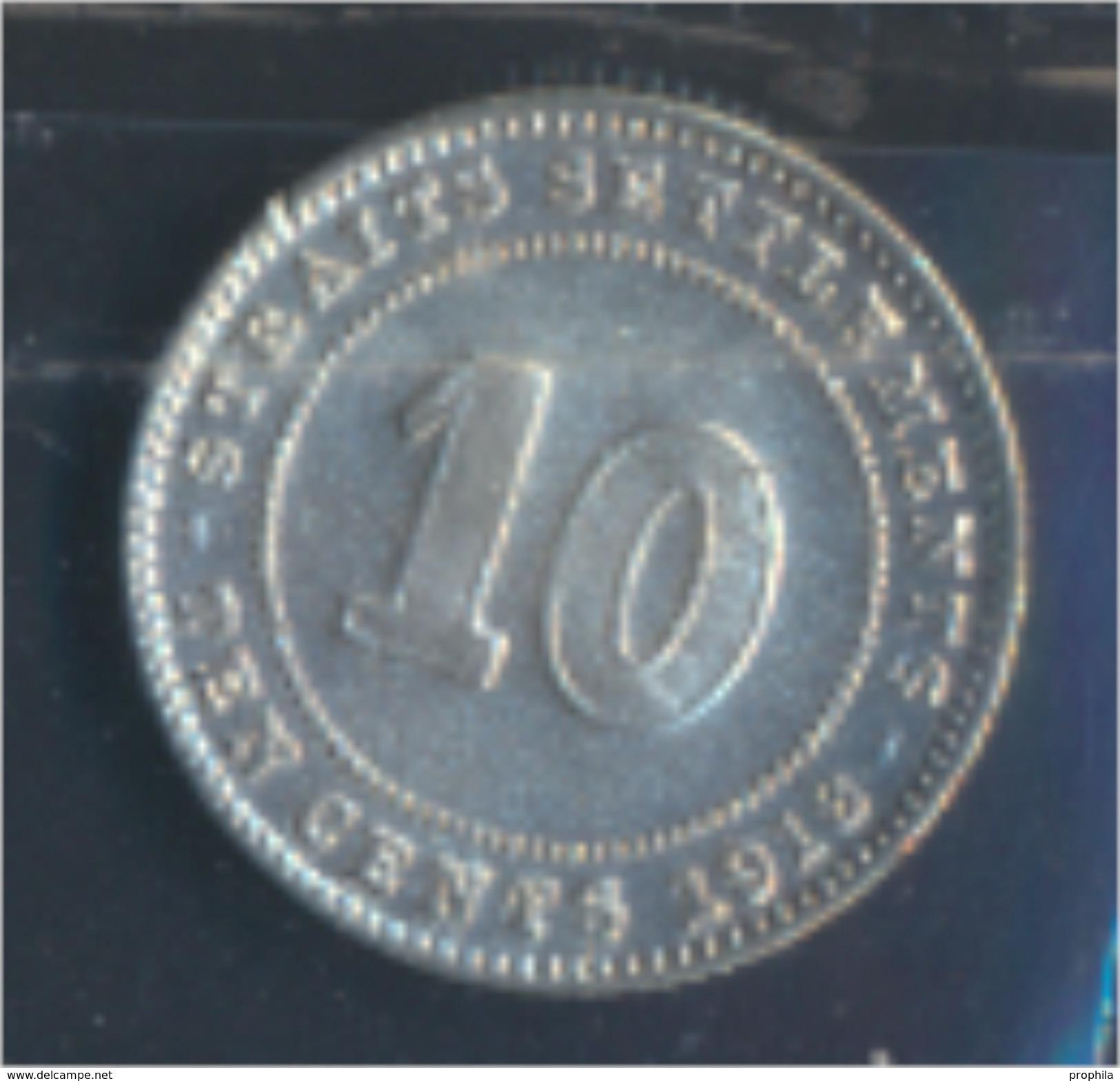 Straits Settlements KM-Nr. : 29 1918 Vorzüglich Silber 1918 10 Cents George V. (8977132 - Malaysie