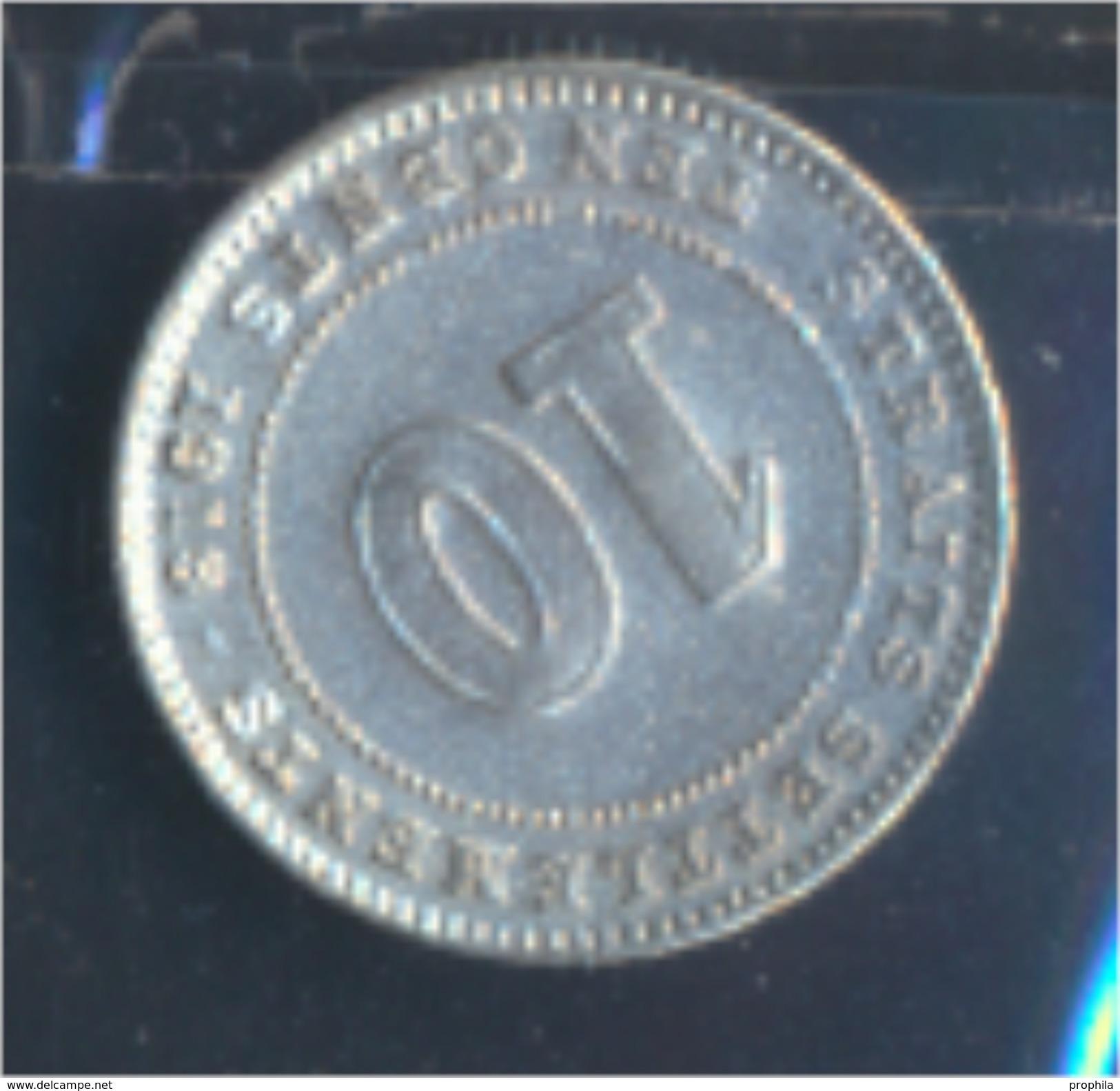 Straits Settlements KM-Nr. : 29 1918 Vorzüglich Silber 1918 10 Cents George V. (8977137 - Malaysie