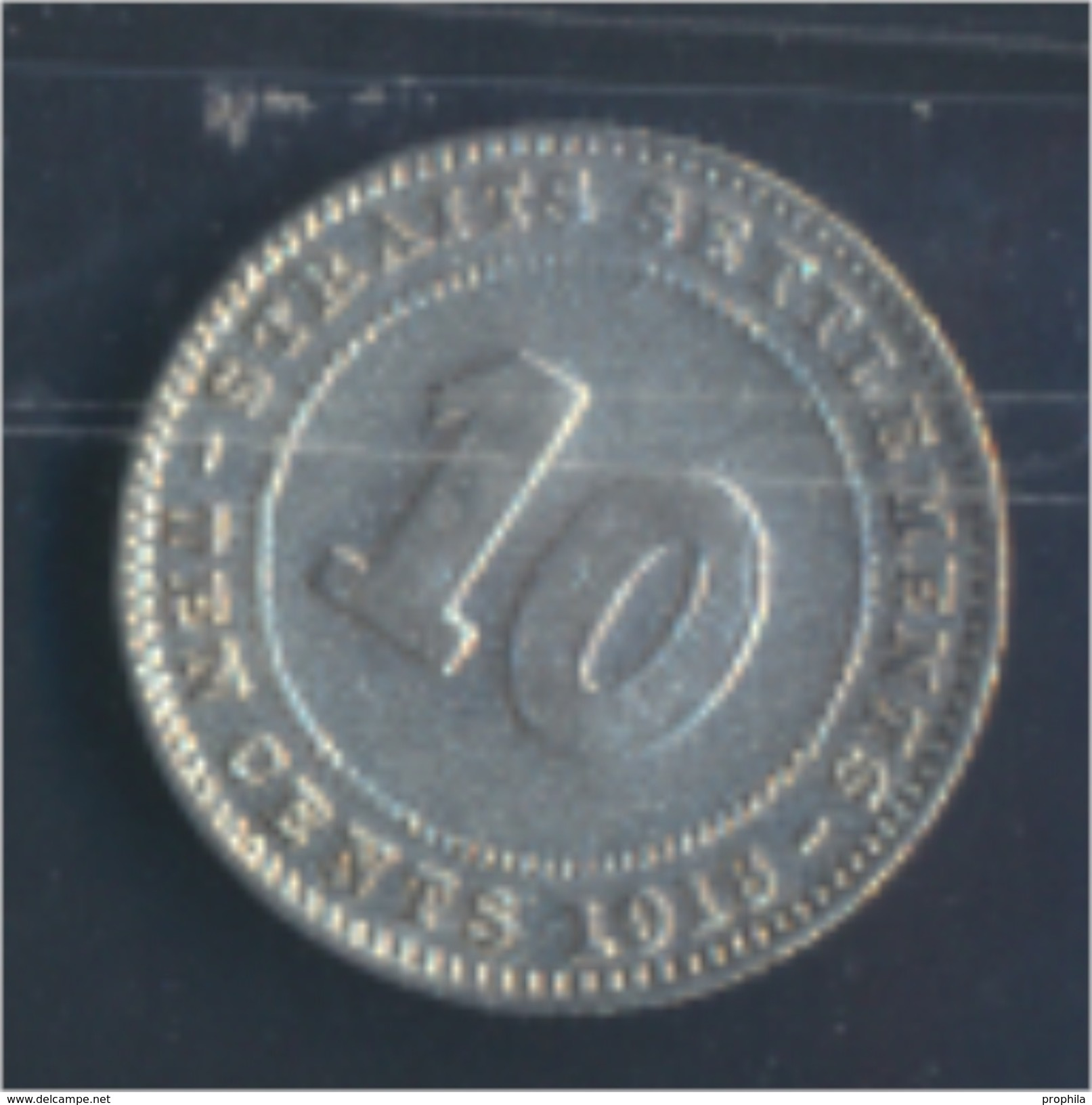 Straits Settlements KM-Nr. : 29 1918 Sehr Schön Silber 1918 10 Cents George V. (8977146 - Malaysie