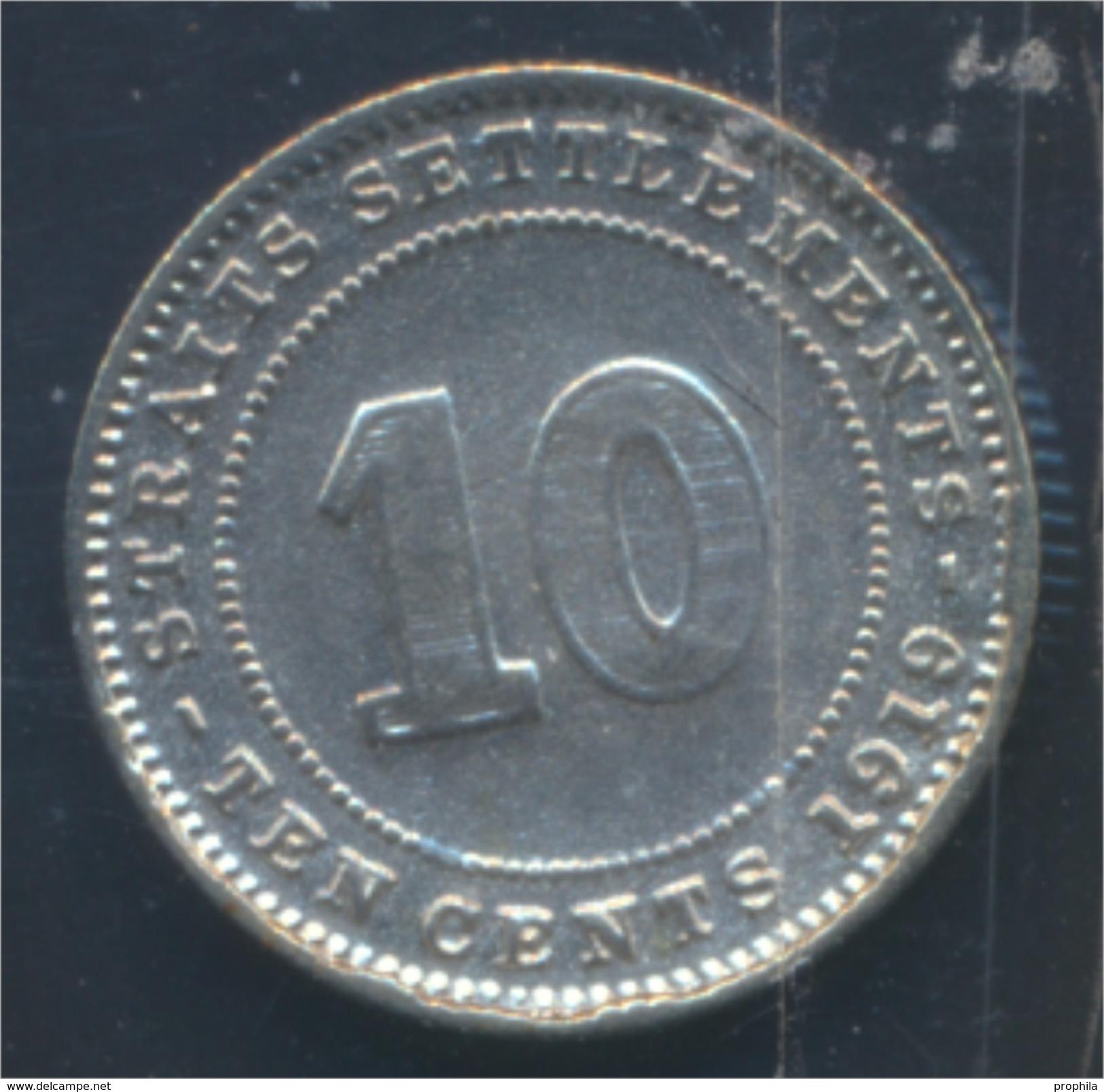 Straits Settlements KM-Nr. : 29 1919 Sehr Schön Silber 1919 10 Cents George V. (8977122 - Malaysie