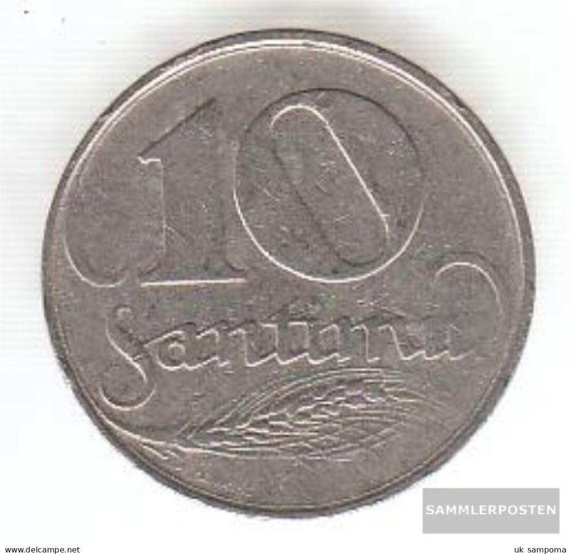 Latvia Km-number. : 4 1922 Very Fine Nickel Very Fine 1922 10 Santimi Crest - Latvia