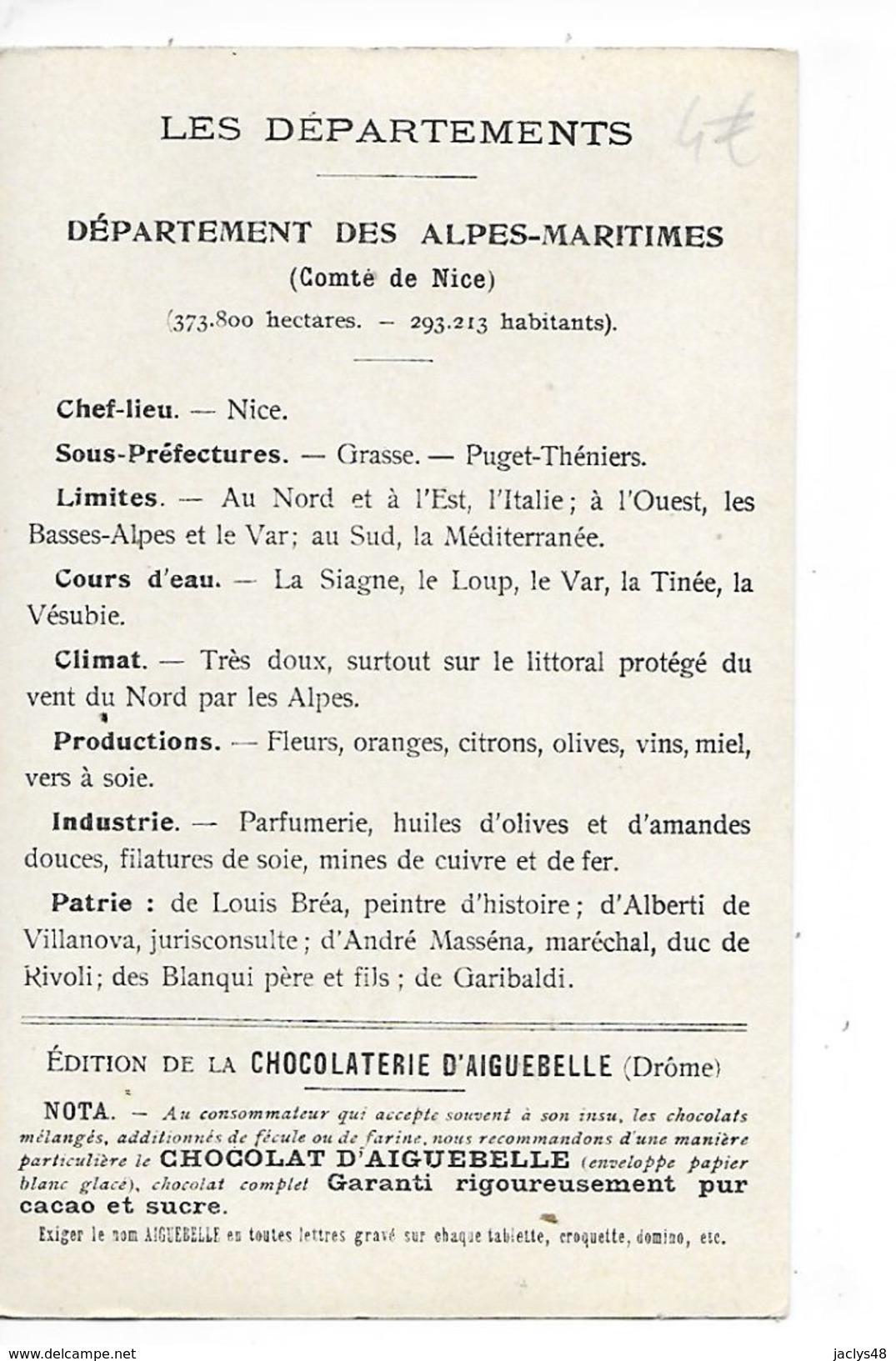 LES  DEPARTEMENTS  - ALPES-MARITIMES   - Chromo Chocolaterie D'Aiguebelle -   -  L 1 - Fichas Didácticas