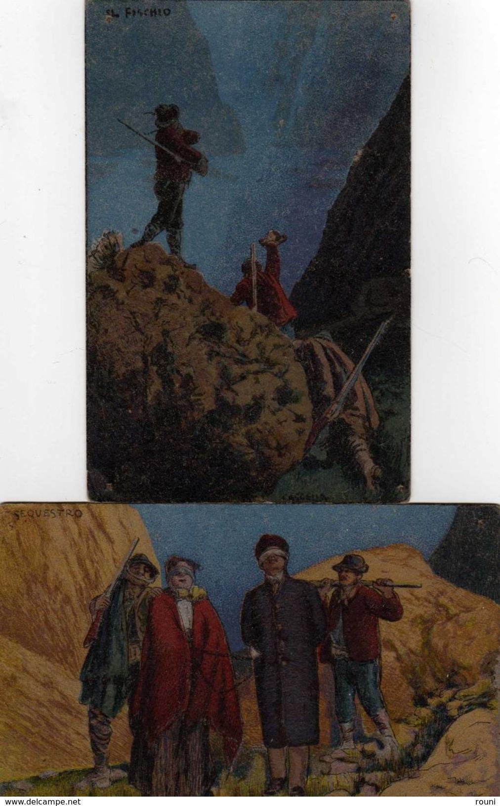 BASDILIO CASCELLA - SEQUSTRO -IL FISCHIO (lot 2 CPA) - Illustrateurs & Photographes