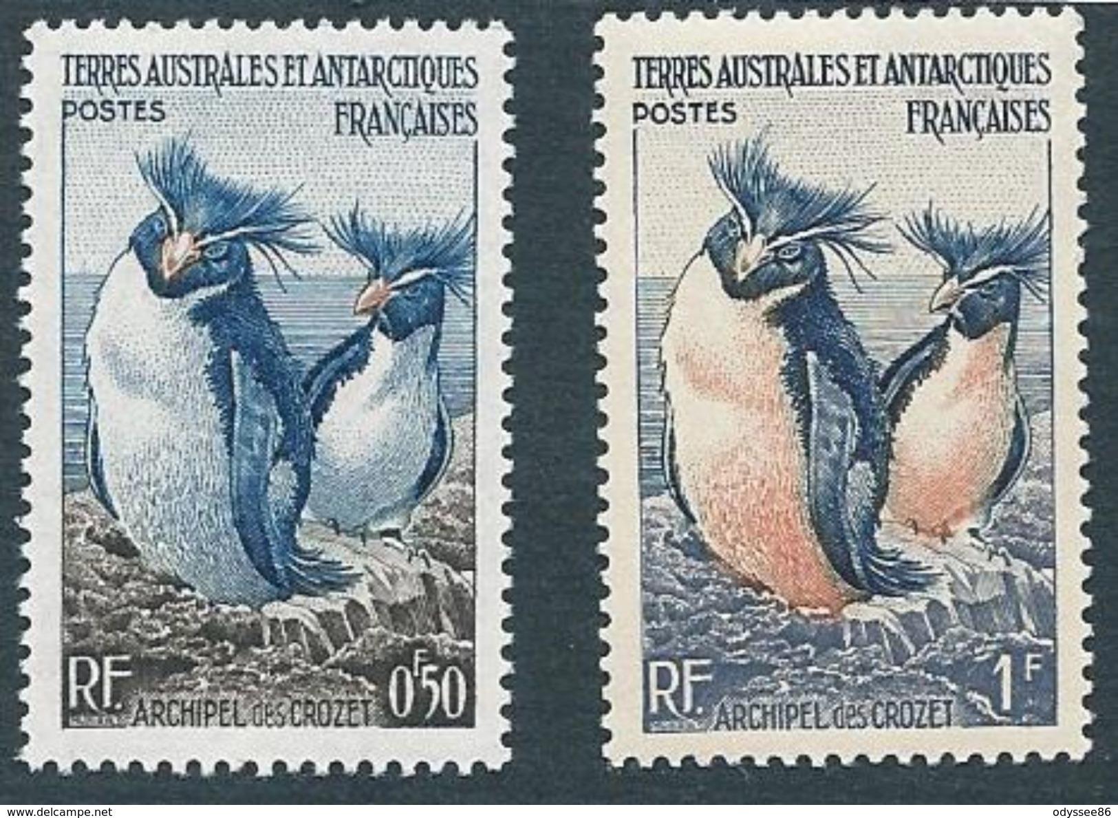 TAAF 1956 - YT N°2 Et N°3 - 50c. Et 1f. - Faune - Manchots Gorfous - NEUF** TTB Etat - Terres Australes Et Antarctiques Françaises (TAAF)