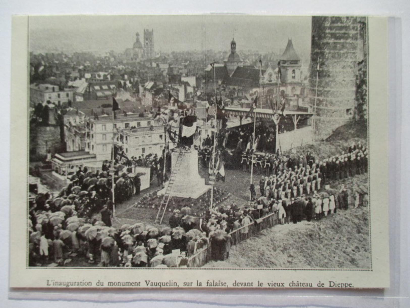1930 - DIEPPE   -  Inauguraton Monument  Vauquelin    - Coupure De Presse Originale (Encart Photo) - Documents Historiques