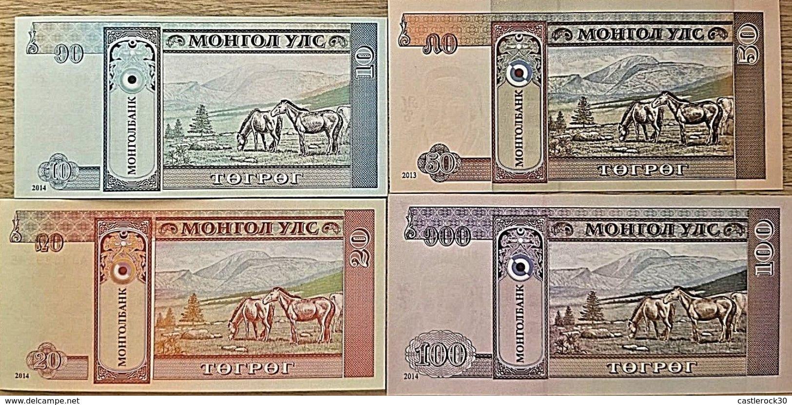 C) MONGOLIAN BANK NOTE 4PC TOGROG UNC ND 2013 - 2014 - Mongolia