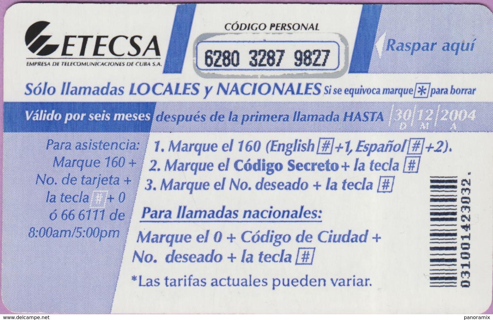 Télécarte Cuba °° Propia 5. Pesos - Para Valdés - Carton Plastifié - R 3032. - Cuba
