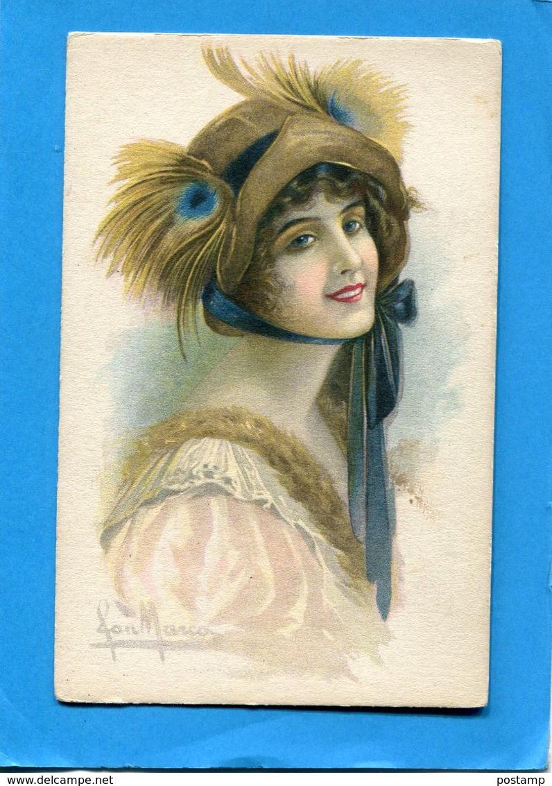 MARCO- SUPERBE Portrait De Femme -avec Chapeau à Plume Et Ruban-année 1910-20 - édition  C Cm - Illustrateurs & Photographes