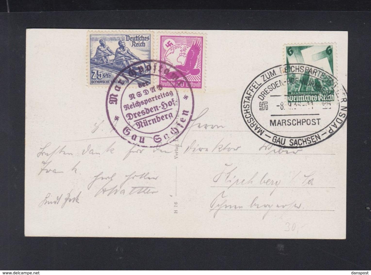 Dt. Reich Marschpost PK Gau Sachsen 1936 - Storia Postale