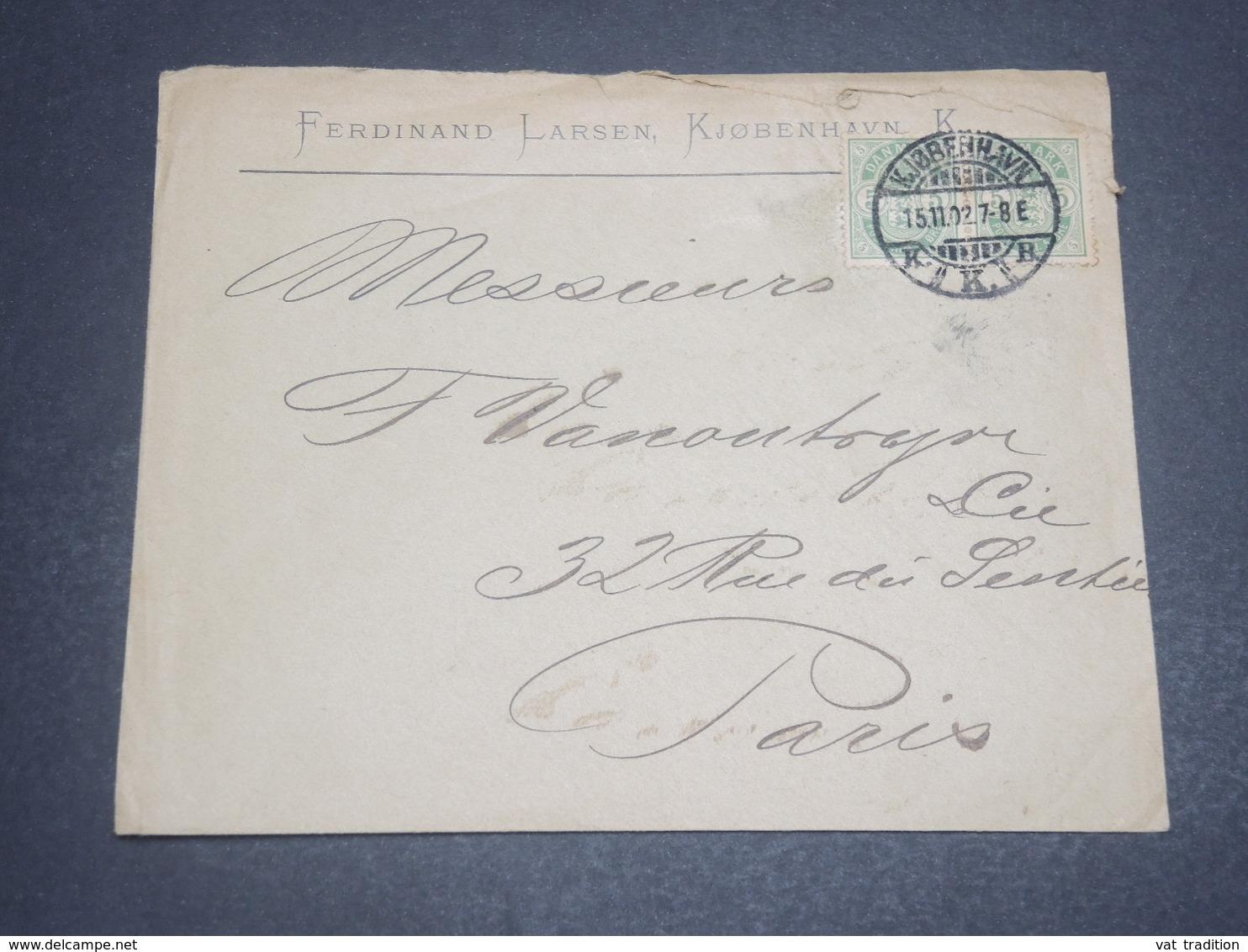 DANEMARK - Enveloppe Commerciale De Copenhague Pour Paris En 1902 - L 11932 - Lettere