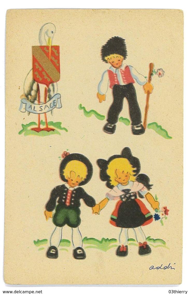 CPA ILLUSTRATEUR ADOLIN ? PETITS ALSACIENS - Künstlerkarten