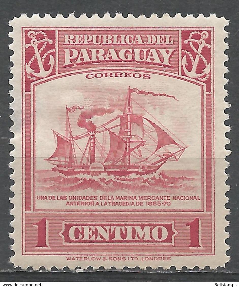 Paraguay 1946. Scott #435 (M) Early Merchant Ship - Paraguay