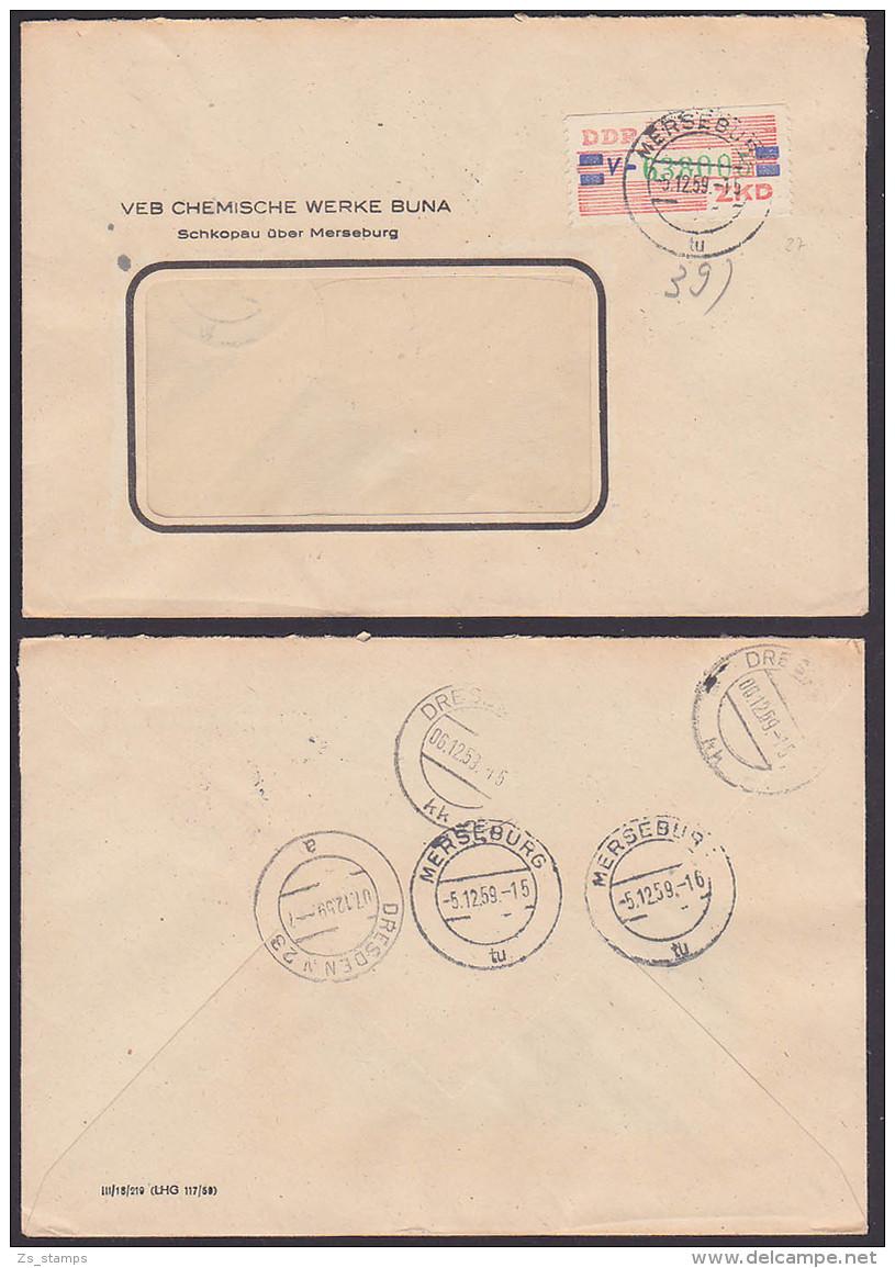 Germany East Merseburg ZKD-Brief B27V VEB Chemische Werke Buna 1959 Schkopau üb. Merseburg - Oficial