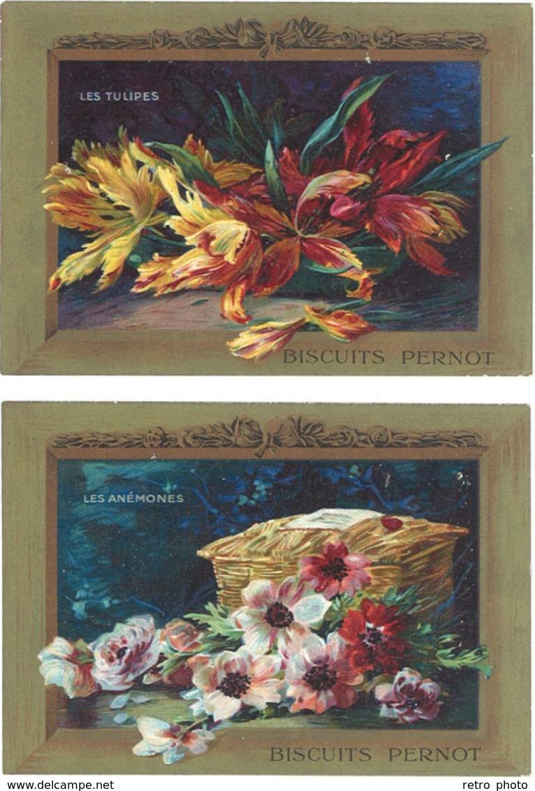2 Chromos – Biscuits Pernot, Tulipes, Anémones - Pernot