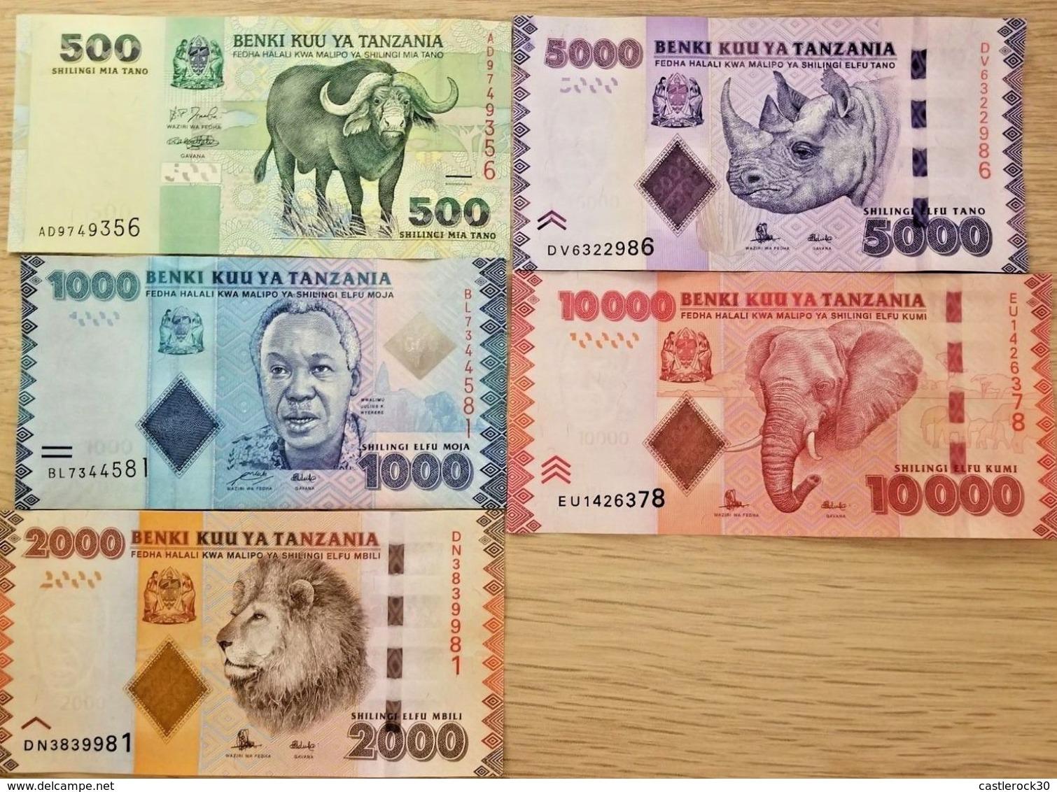 C) TANZANIA BANK NOTES 5 PCS SET CHILLINGS UNC ND VARIOUS YEARS - Tanzania