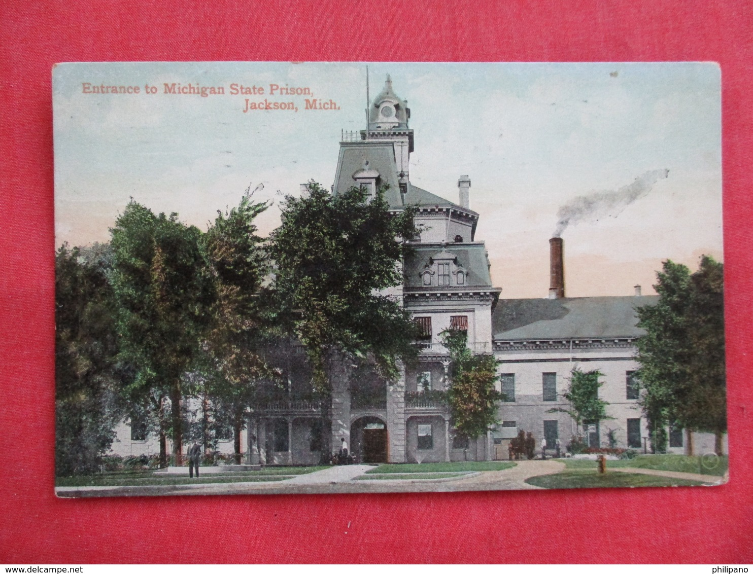 Entrance To Michigan State Prison  Jackson Michigan -ref 2807 - Prison