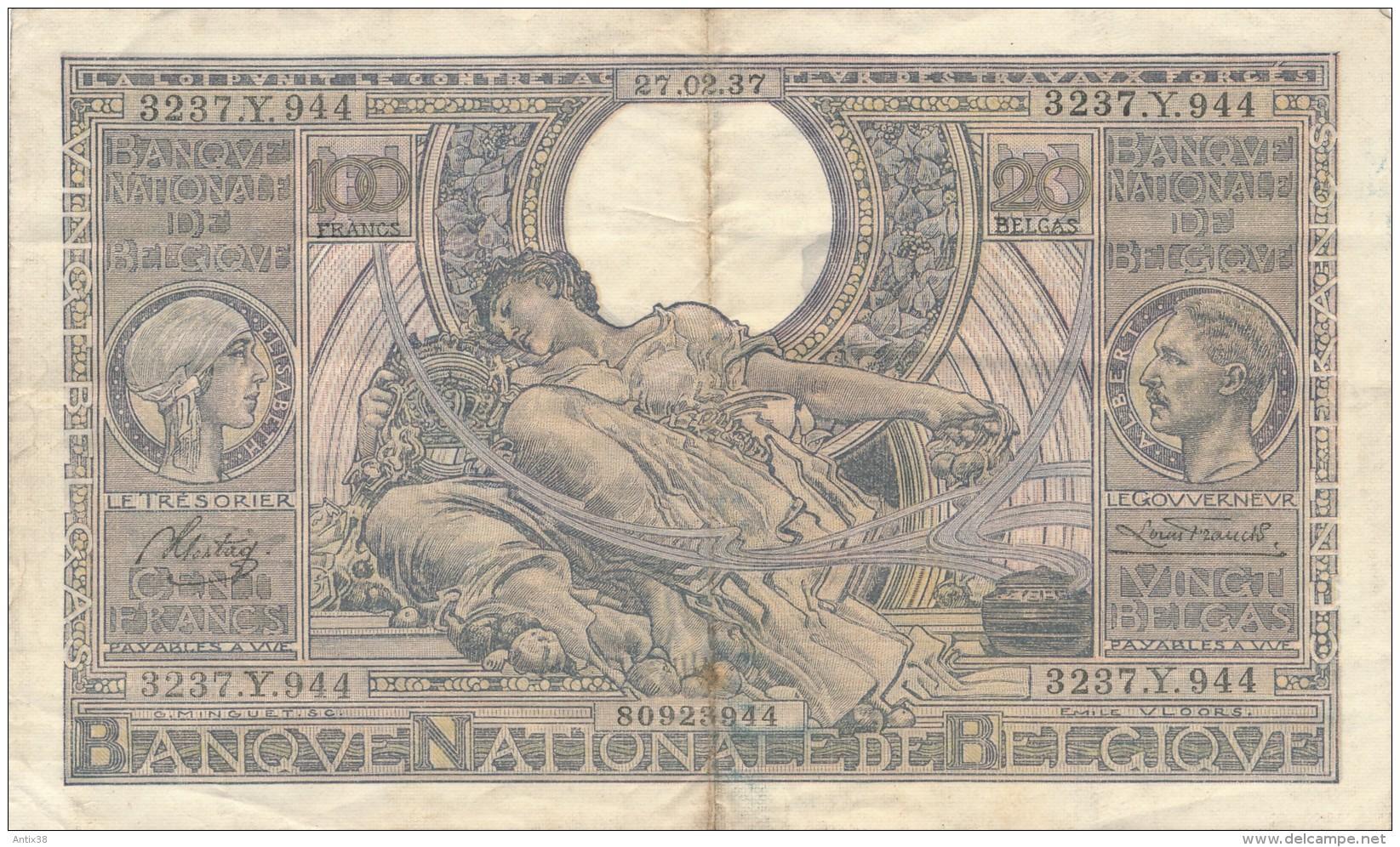 H17 - Billet - 100 FRANCS - BANQUE NATIONALE DE BELGIQUE - 1937 - 100 Franchi & 100 Franchi-20 Belgas