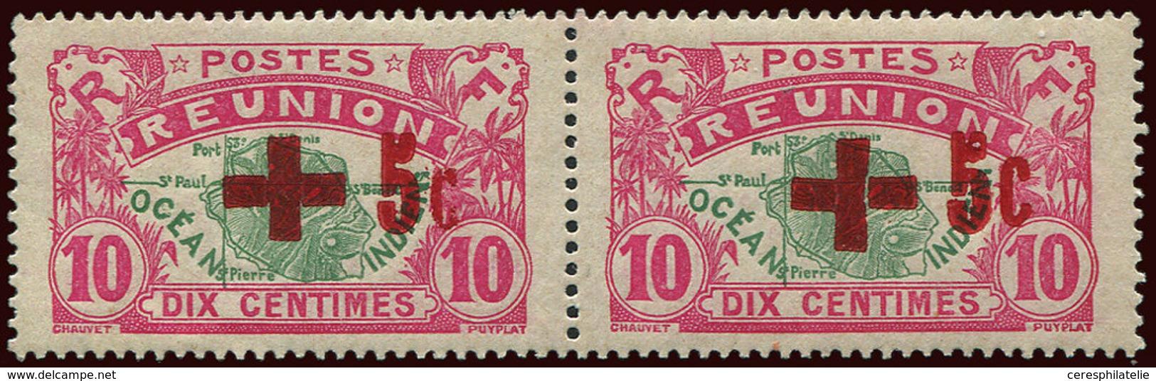 ** REUNION 81 : 10c. Rose Et Vert, Croix Fendue Tenant à Normal, TB - Réunion (1852-1975)