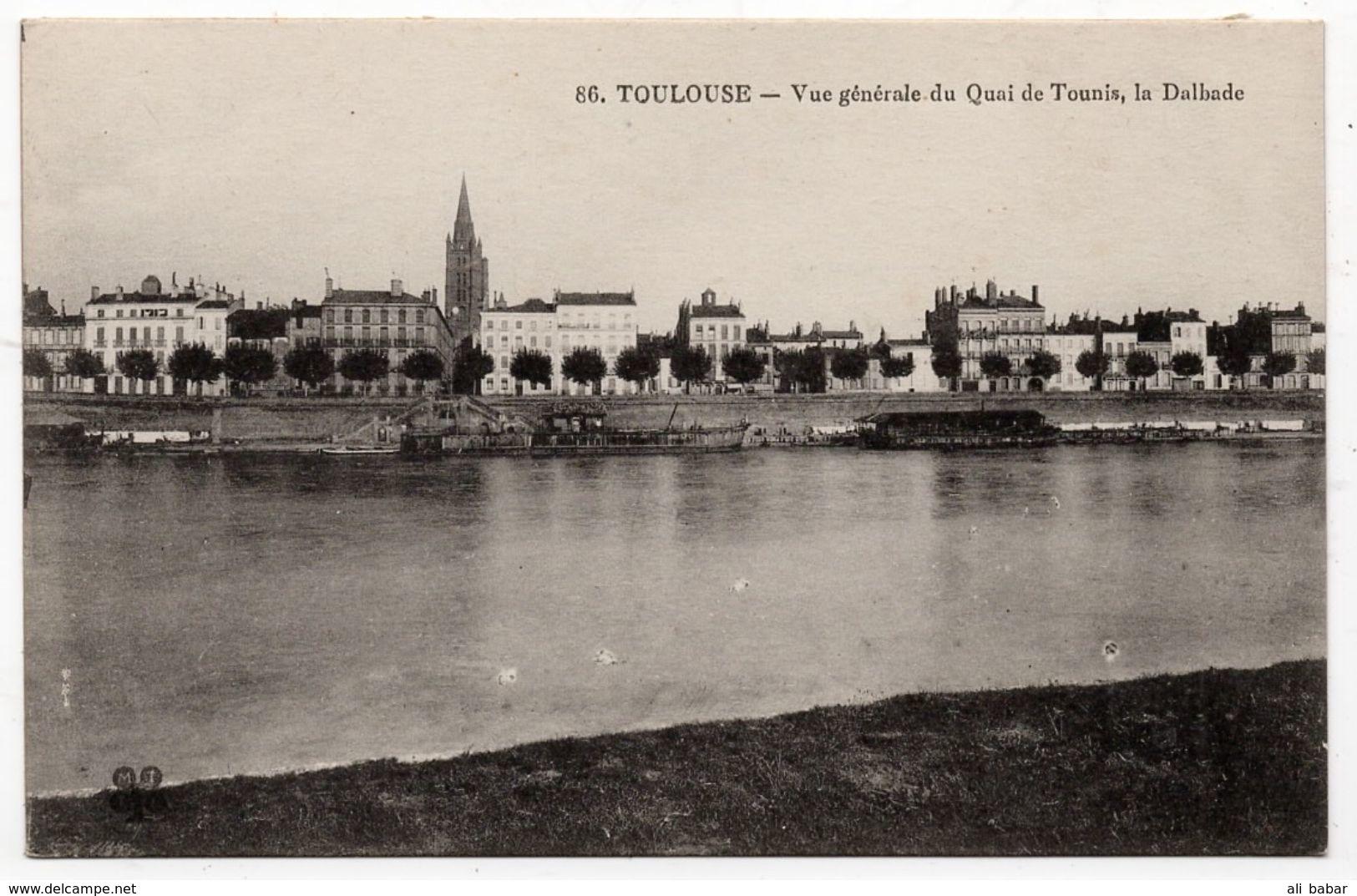 Toulouse : Vue Générale Du Quai De Tounis, La Dalbade (Nom D'éditeur Illisible, N°86) - Toulouse