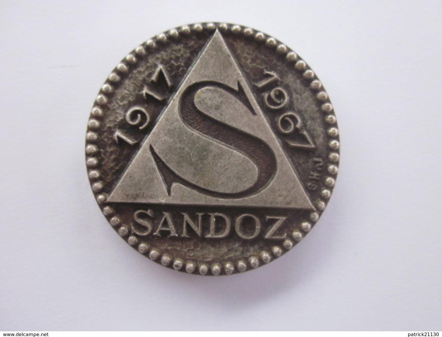 MEDAILLE LABORATOIRES SANDOZ 1917 1967 MEDECINE OU PHARMACIE - Professionals / Firms