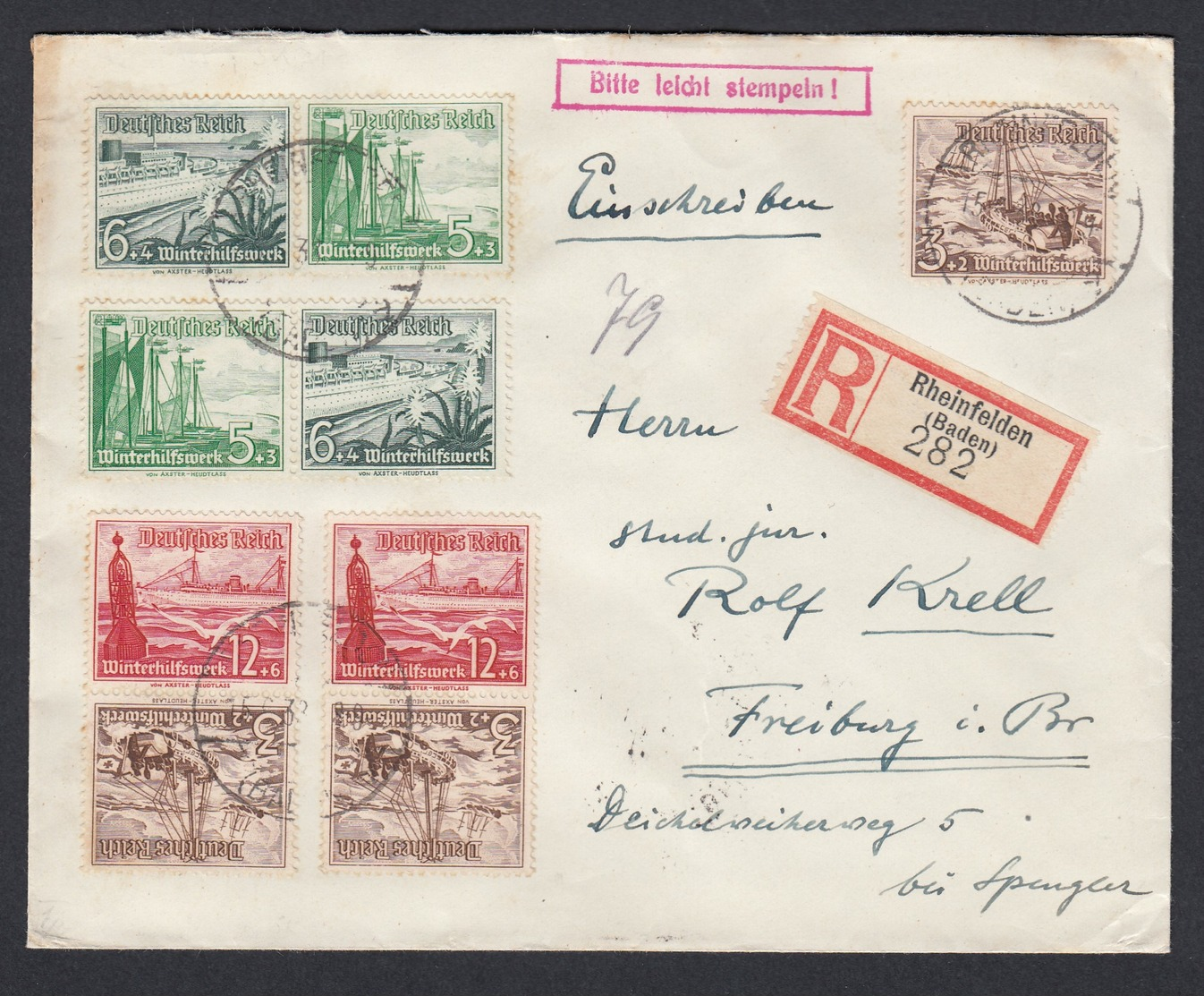 DR Einschreiben  Zusammendruck WH Vignette Wie Lage Noch Ohne Kolonien1933 Rheinfelden Nach Freiburg K938 - Briefe U. Dokumente