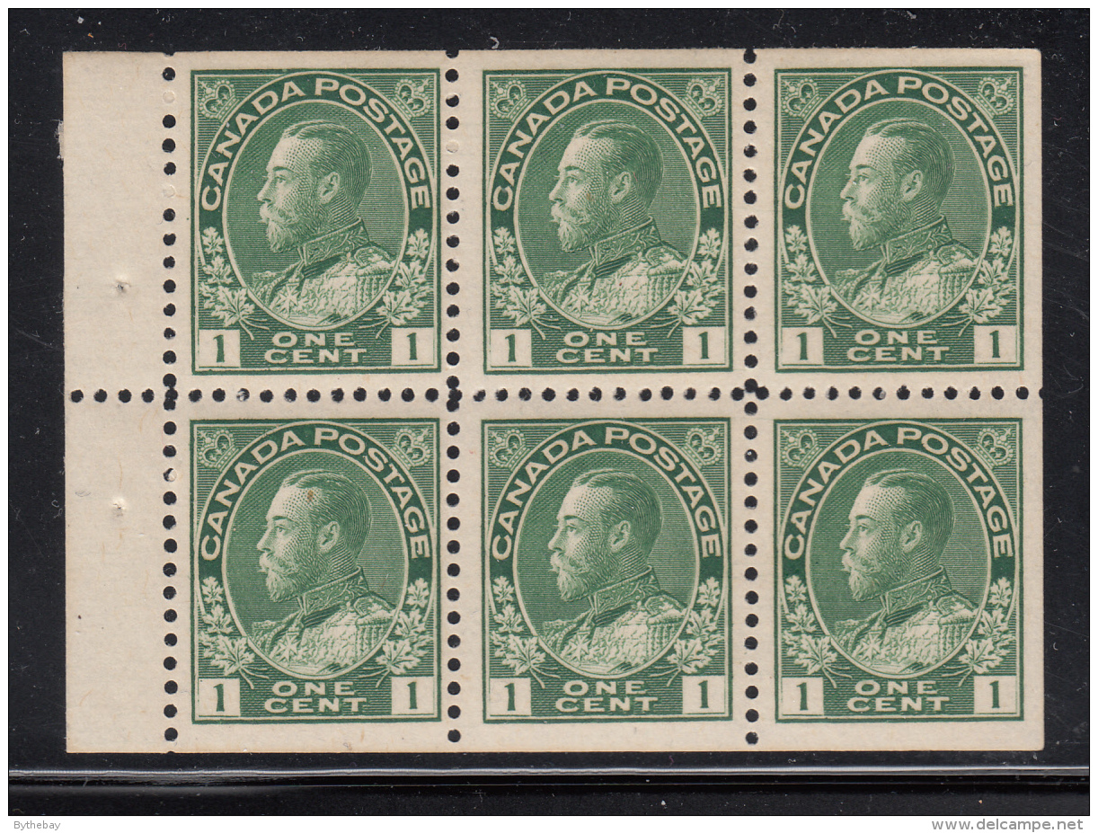 Canada 1911-25 MNH Scott #104a 1c Admiral Pane Of 6 - Pages De Carnets