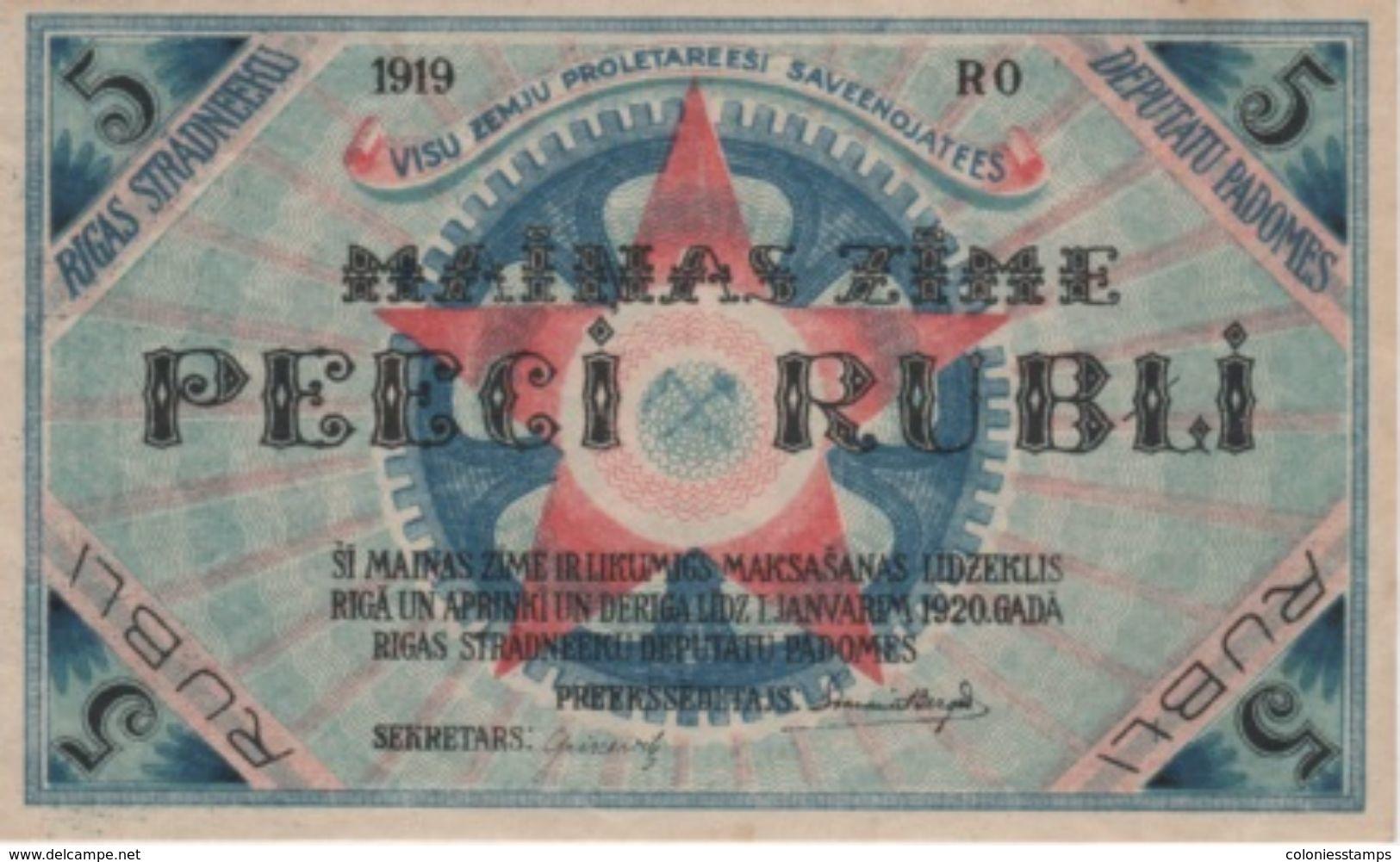 (B0551) LATVIA, 1919. 5 Rubli. P-R3. AUNC (AU) - Lettonie
